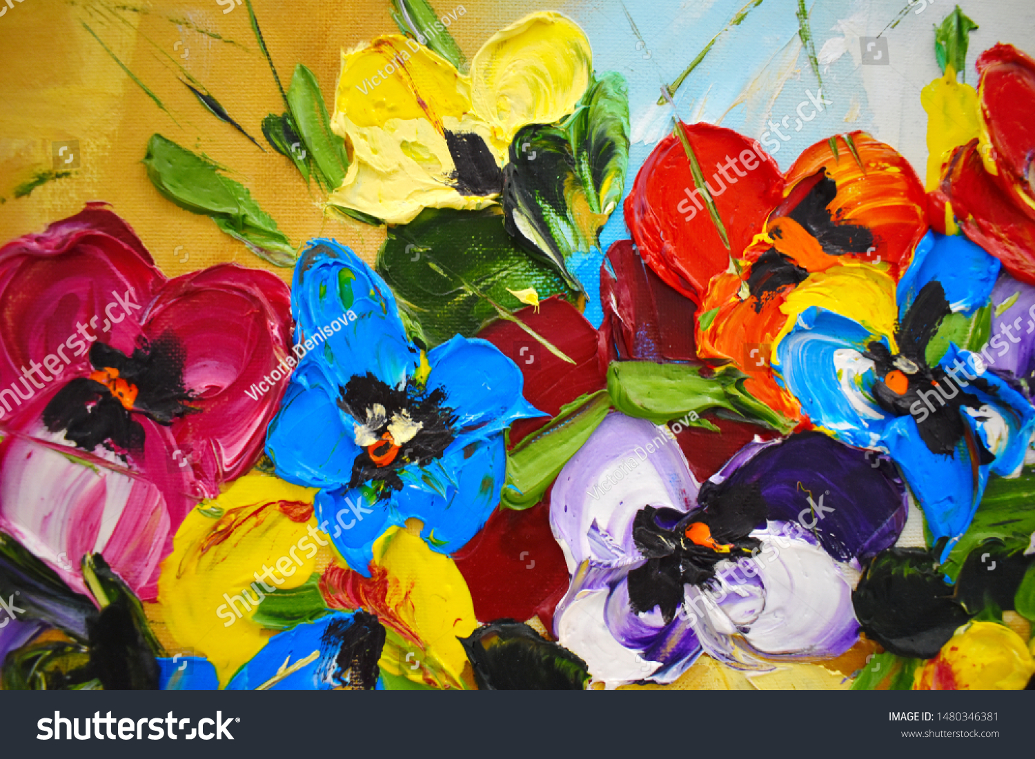 Fragment of an oil painting. Drawn bright multi-colored flowers. Abstract colorful background #1480346381