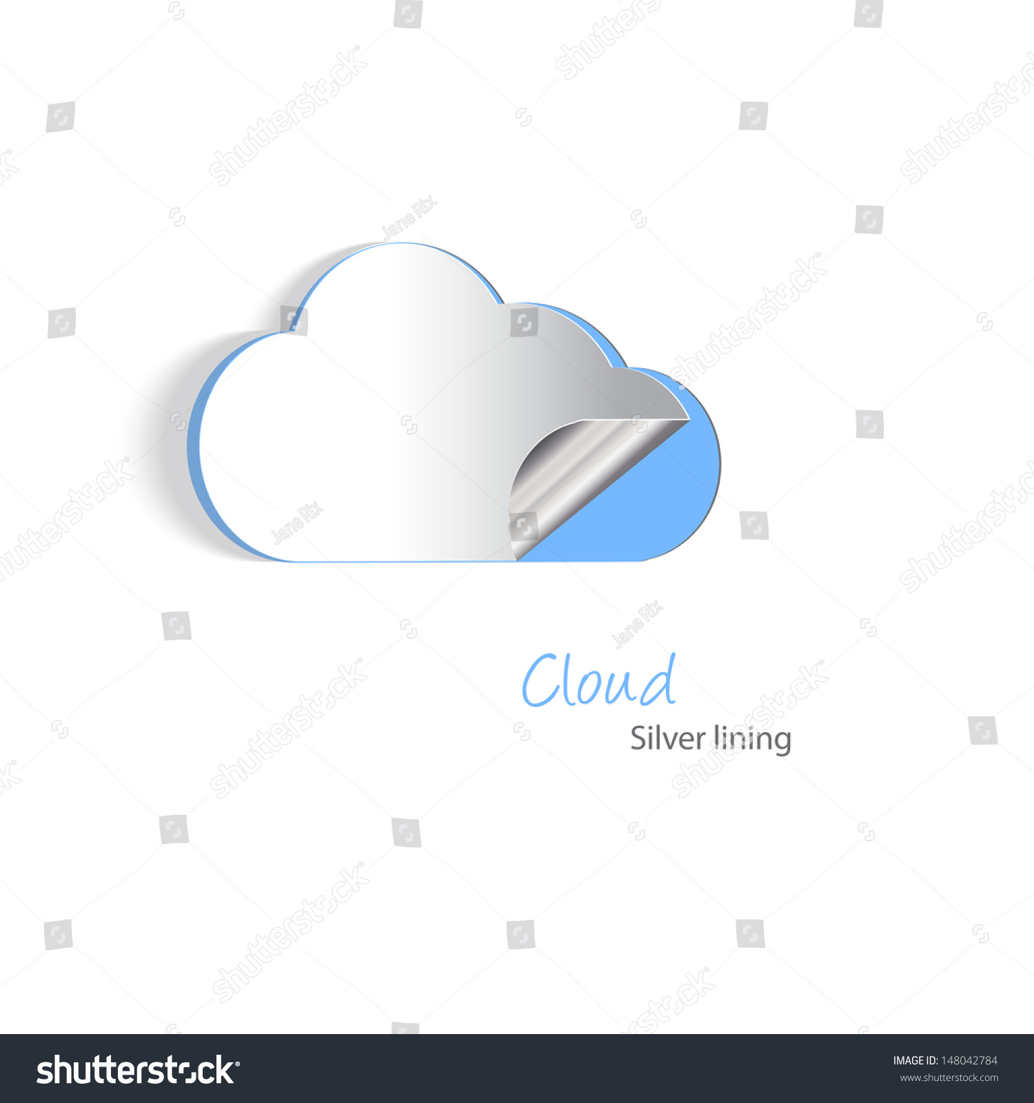 Paper cutouts of a cloud with a silver lining cloud for How to make a paper cloud
