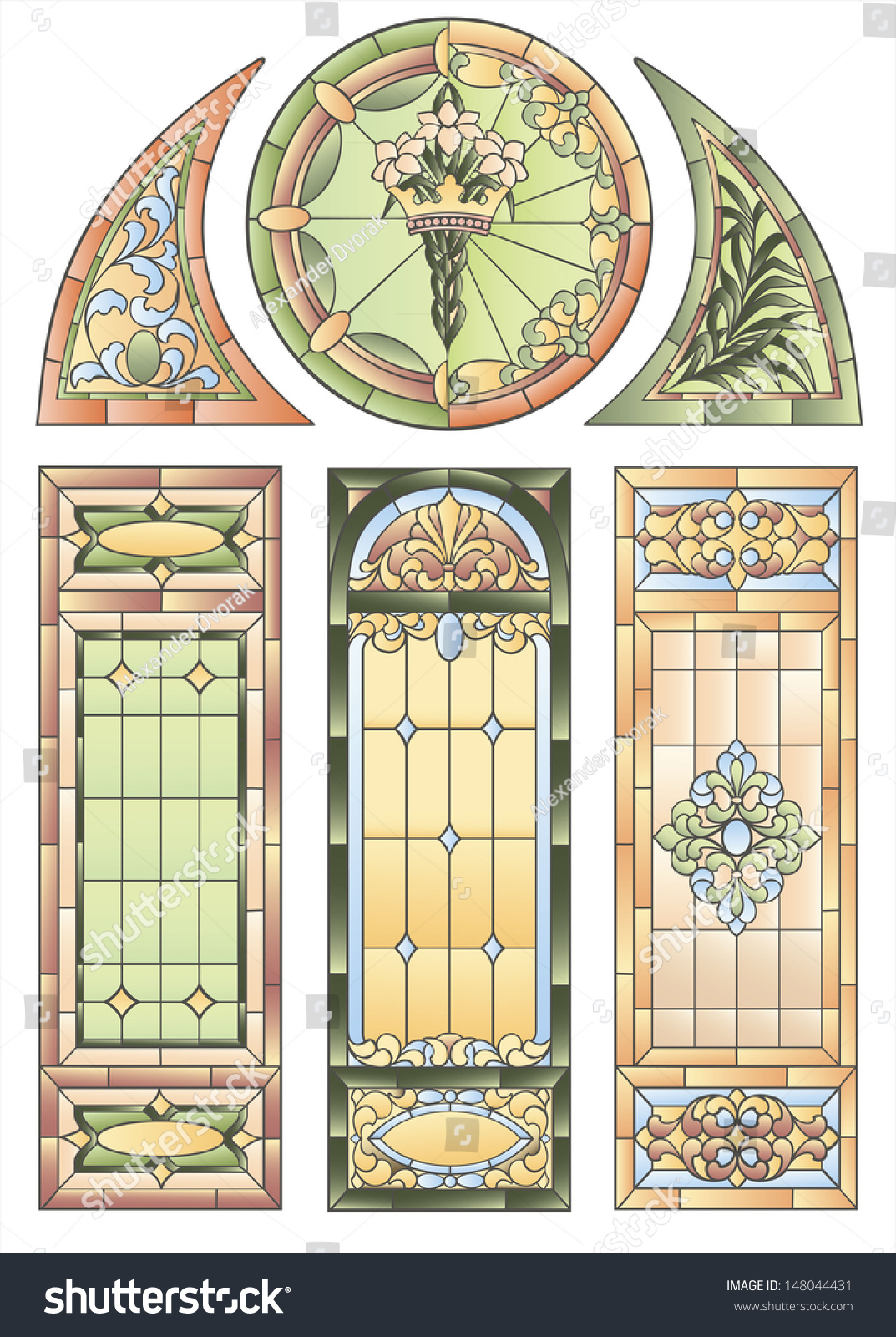 Examples Stained Glass Windows Decoration Gothic Stock Vector ...