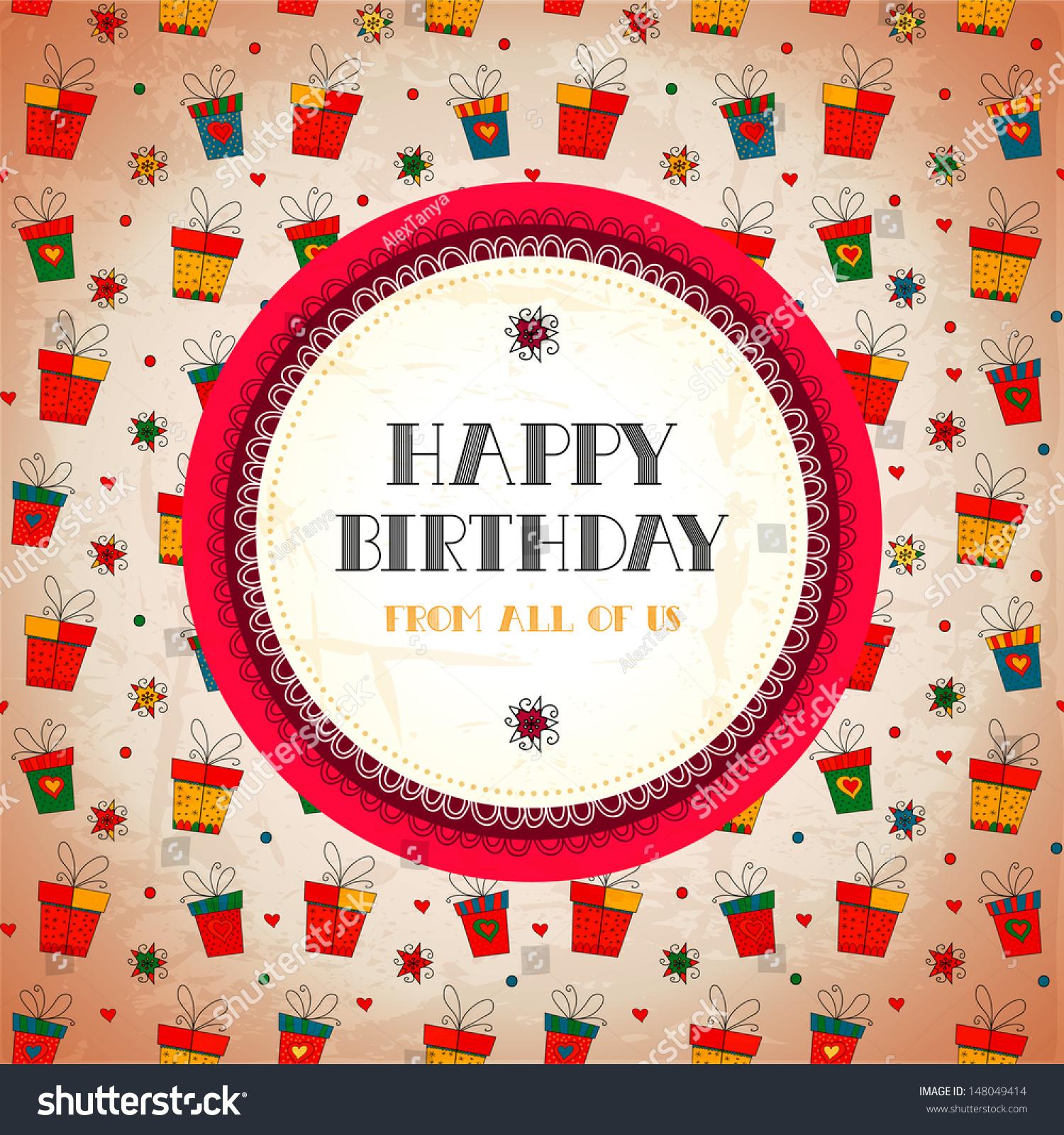 Vintage Card Happy Birthday Vector Illustration Stock