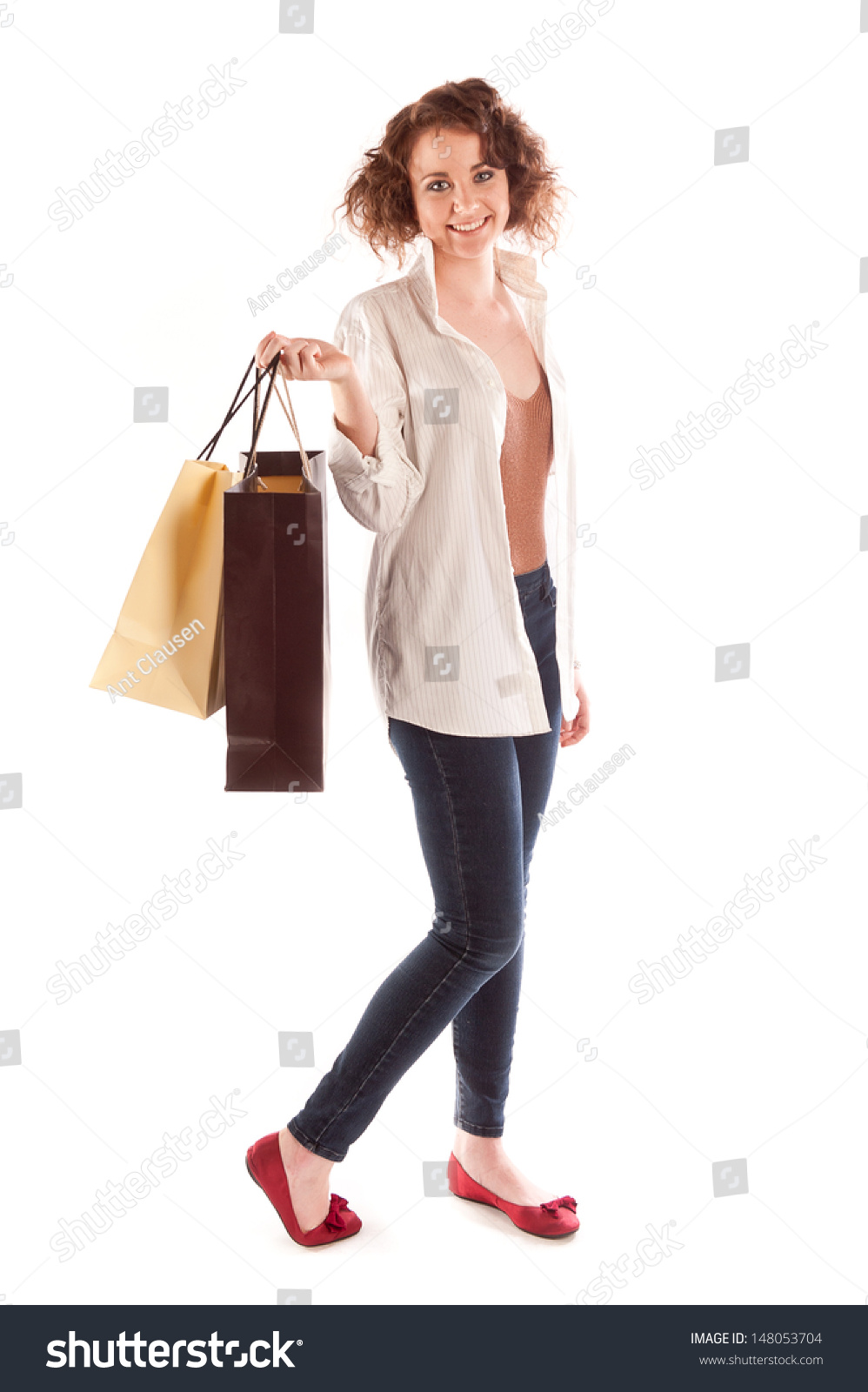 Woman posing with shopping bags isolated on white background full - Young Woman Posing With Shopping Bags Isolated On White Background