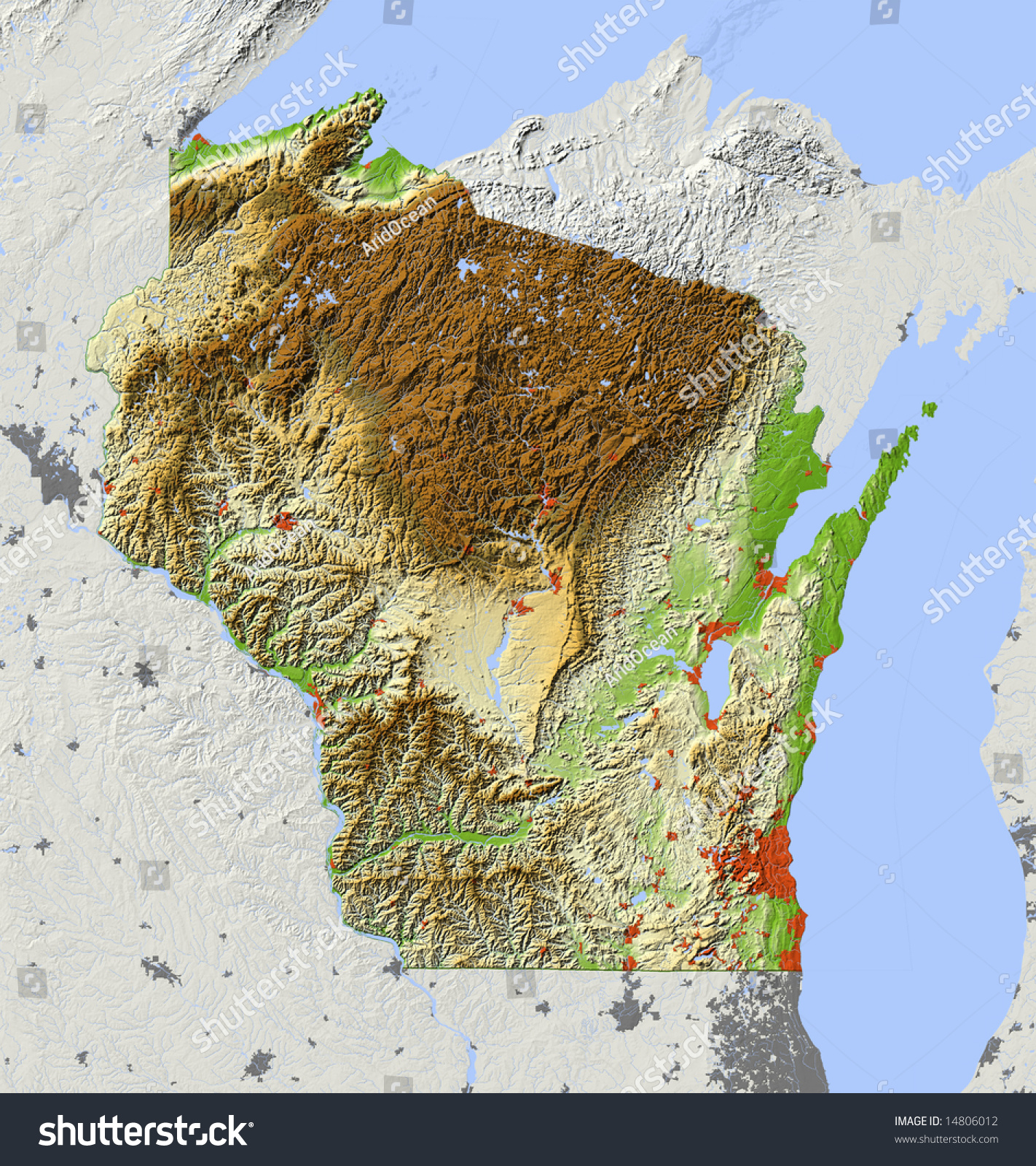 Wisconsin. Shaded Relief Map, With Major Urban Areas