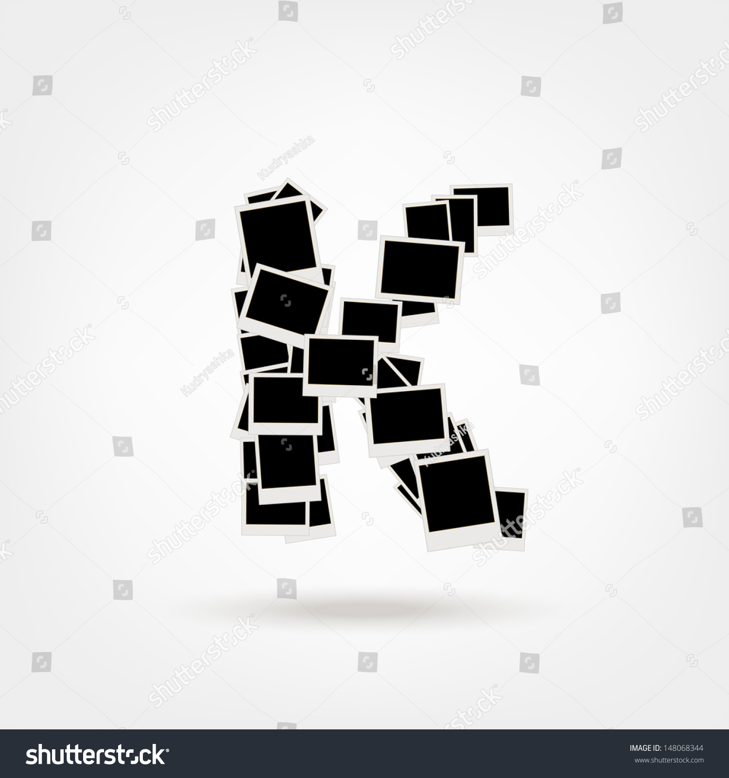 Letter K Made Photo Frames Insert Stock Vector (Royalty Free ...