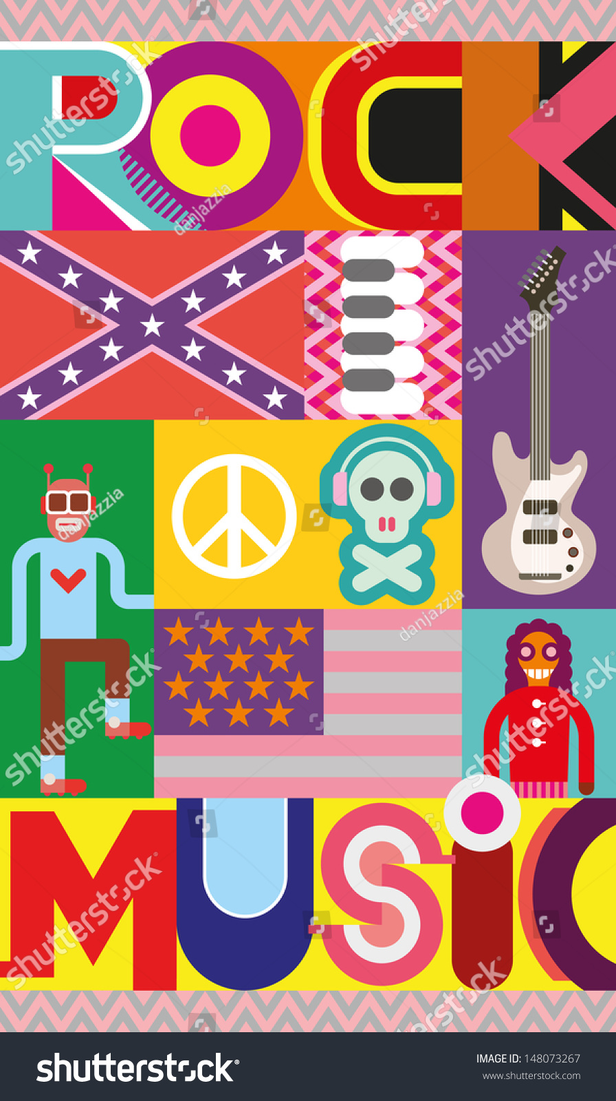 Rock And Roll Concert Poster Musical Collage