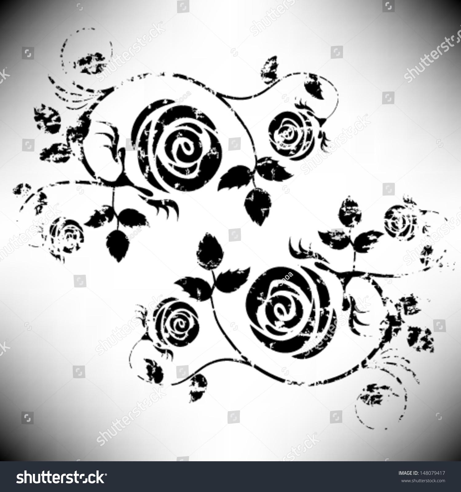 Vintage Grunge Flower Vector Rose Element Stock Vector ...