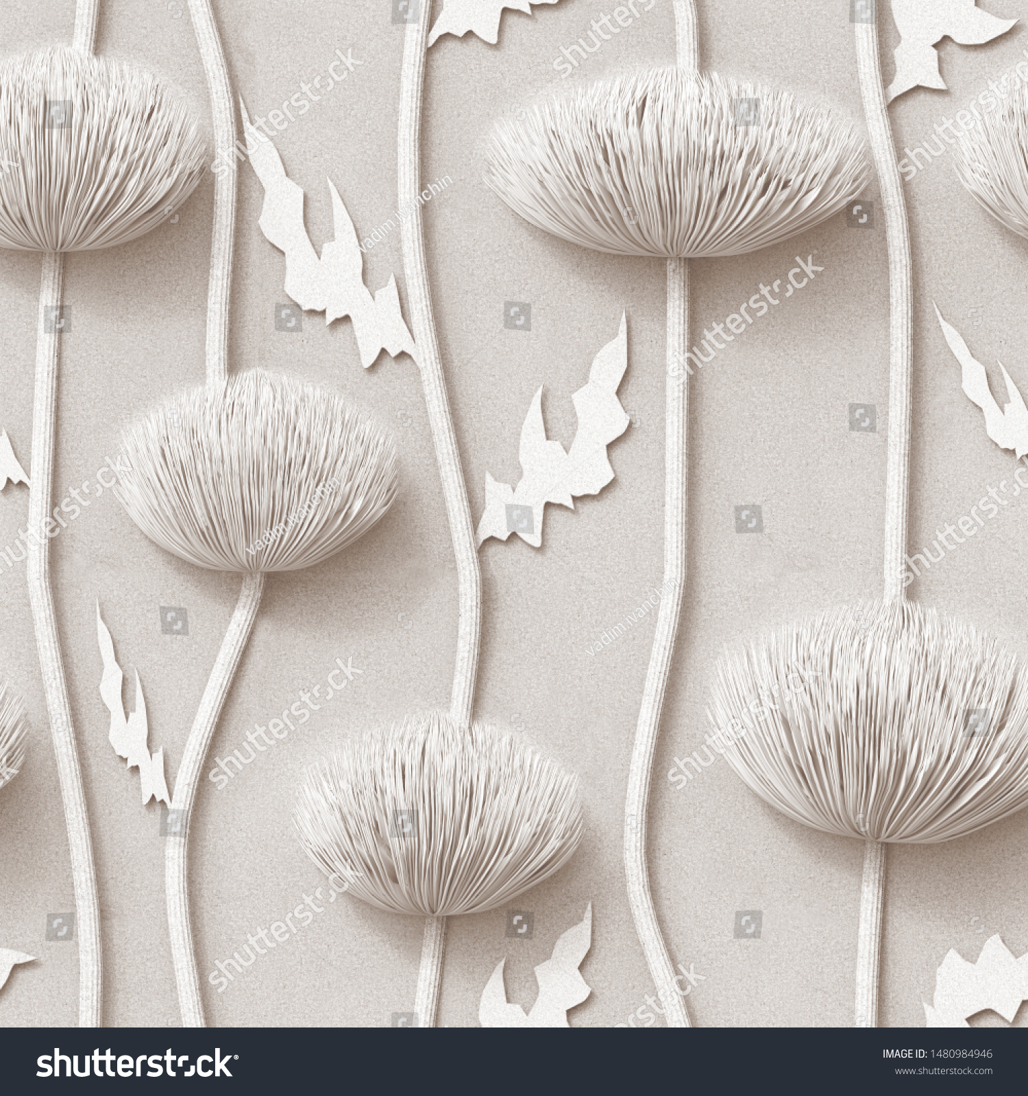 3d Floral Wallpaper White Background Seamless Stock Illustration