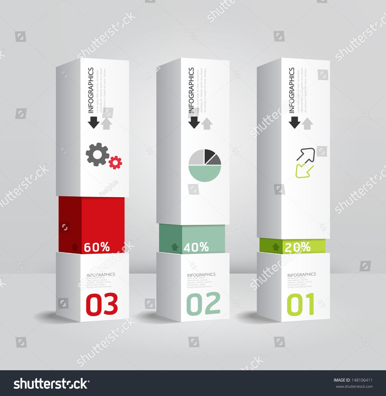 Infographic template modern box design minimal stock for Design minimal