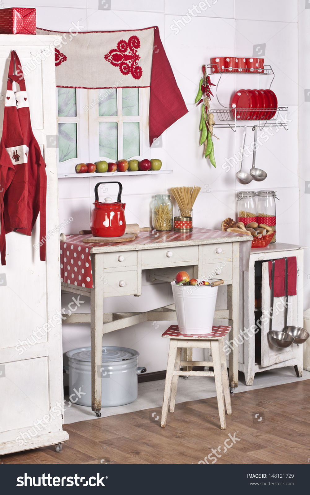 Red White Kitchen Old Furniture Food Stock Photo Edit Now 148121729
