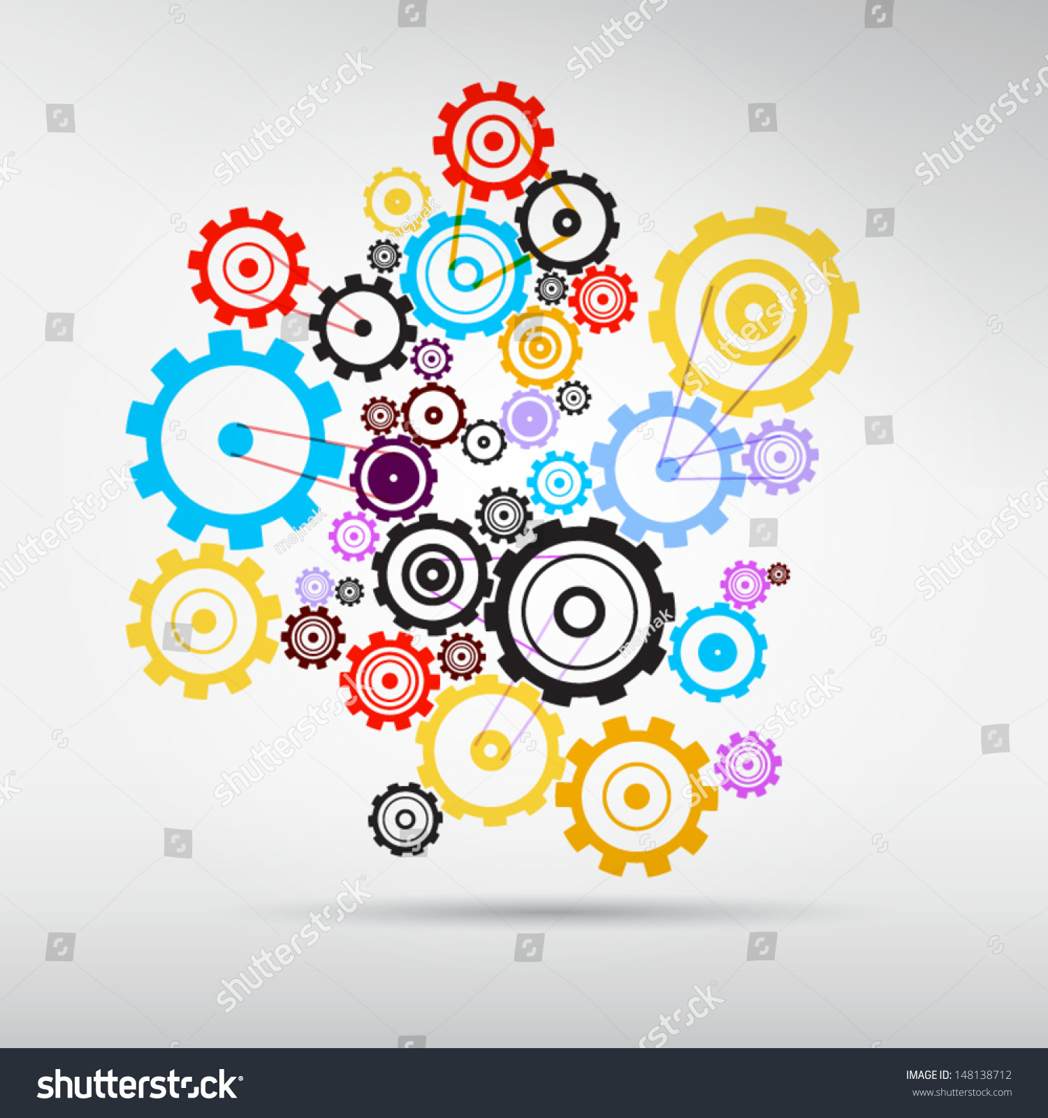 Abstract Vector Colorful Cogs Gears On Stock Vector ...