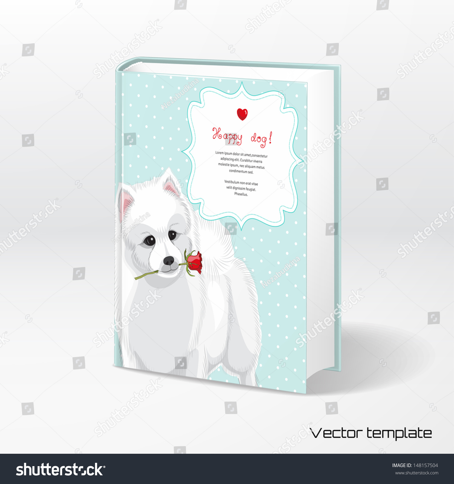 Simple White Book Cover : Vector template book cover white spitz holds a rose
