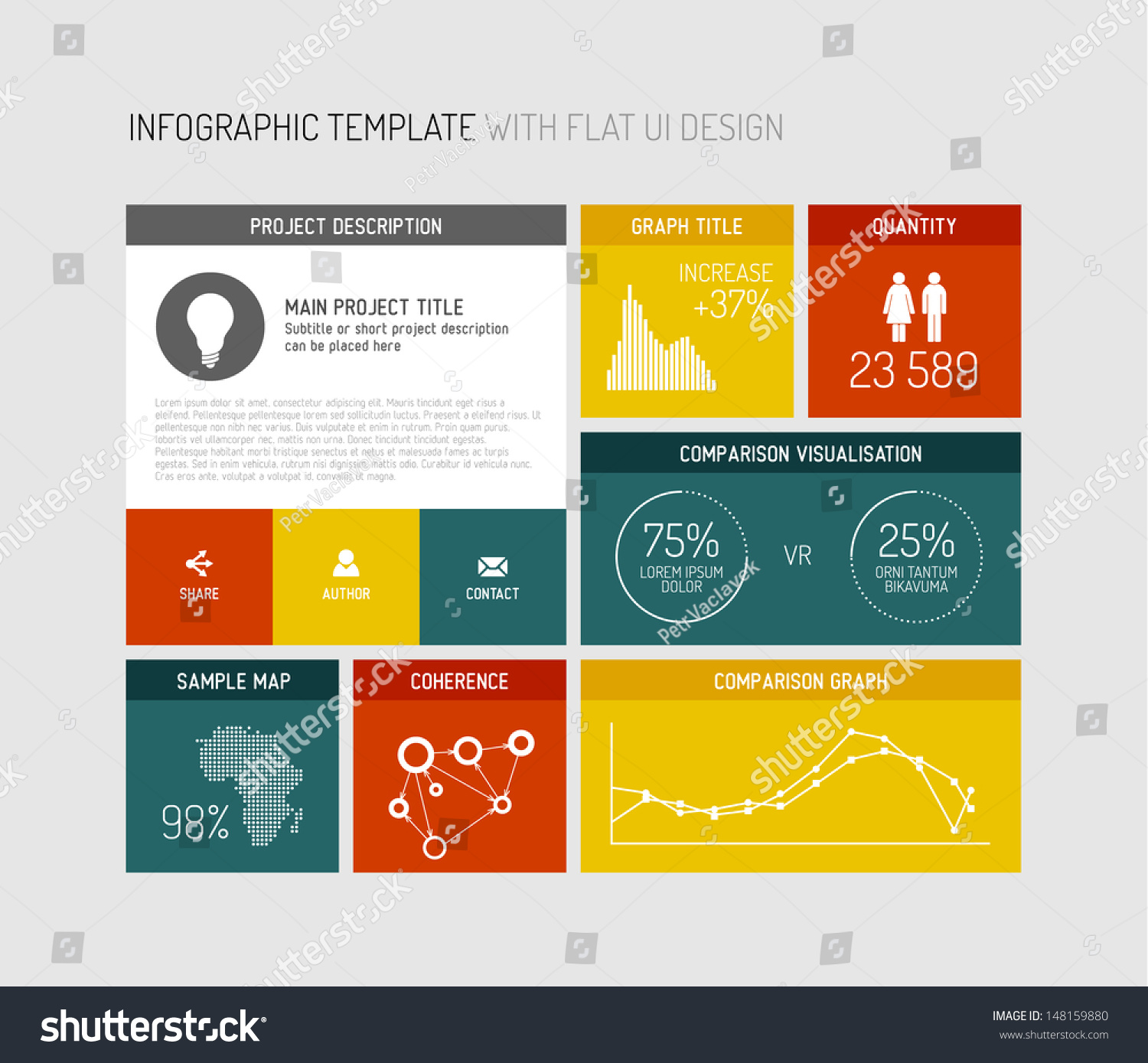 Vector flat user interface ui infographic stock vector for User interface design document template