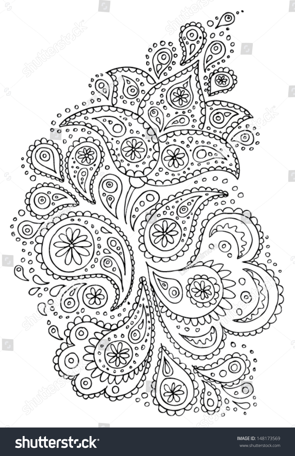 Henna Paisley Flowers Mehndi Tattoo Hand Stock Vector