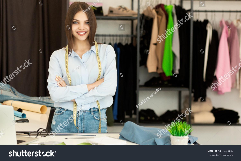 Cheerful Fashion Designer Smiling Camera Own People Stock Image 1481765066