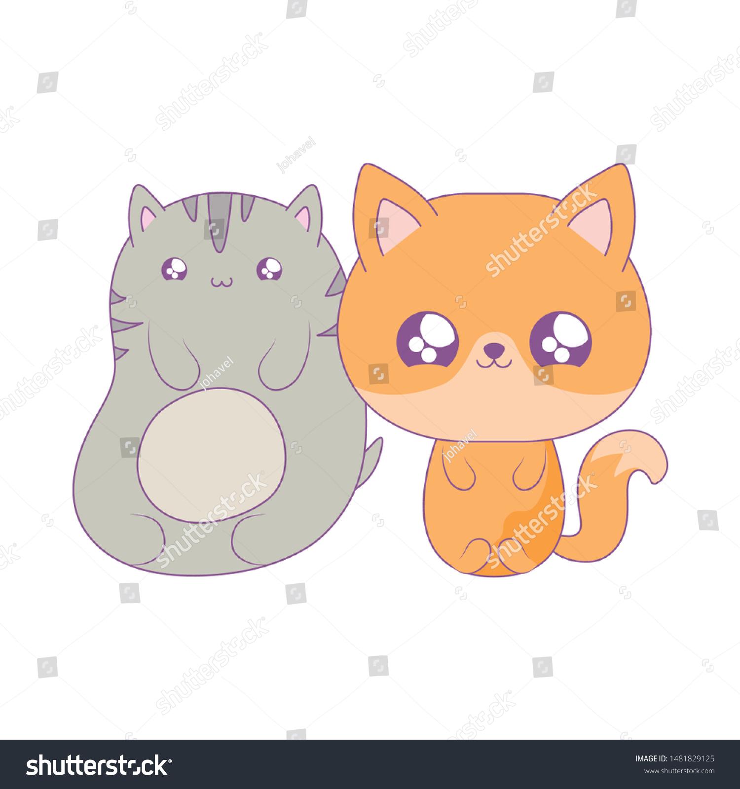 Cute Cat Fox Baby Animals Kawaii Stock Vector Royalty Free 1481829125