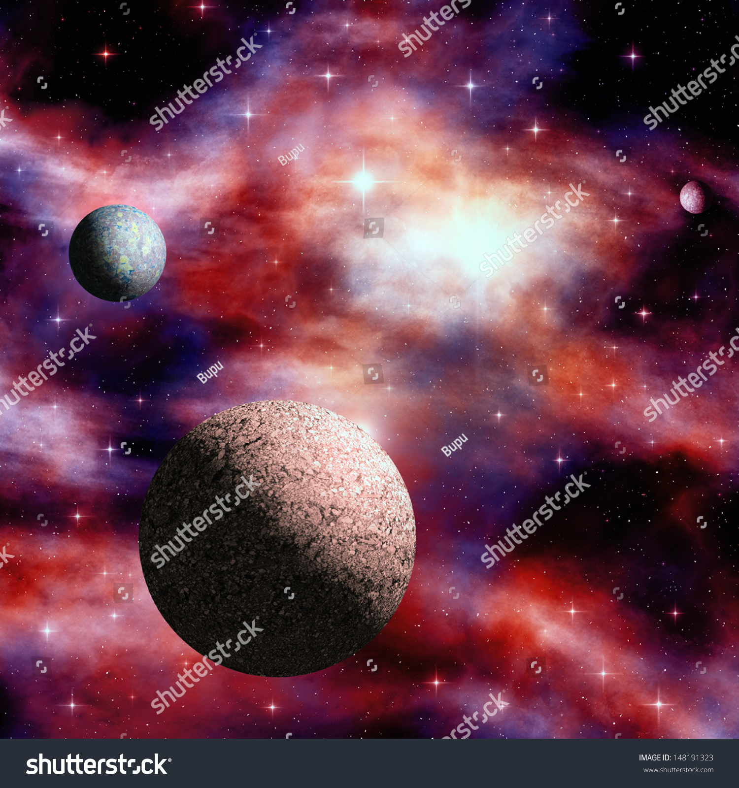 Space Nebula With Stars And Orbiting Planets Stock Photo ...