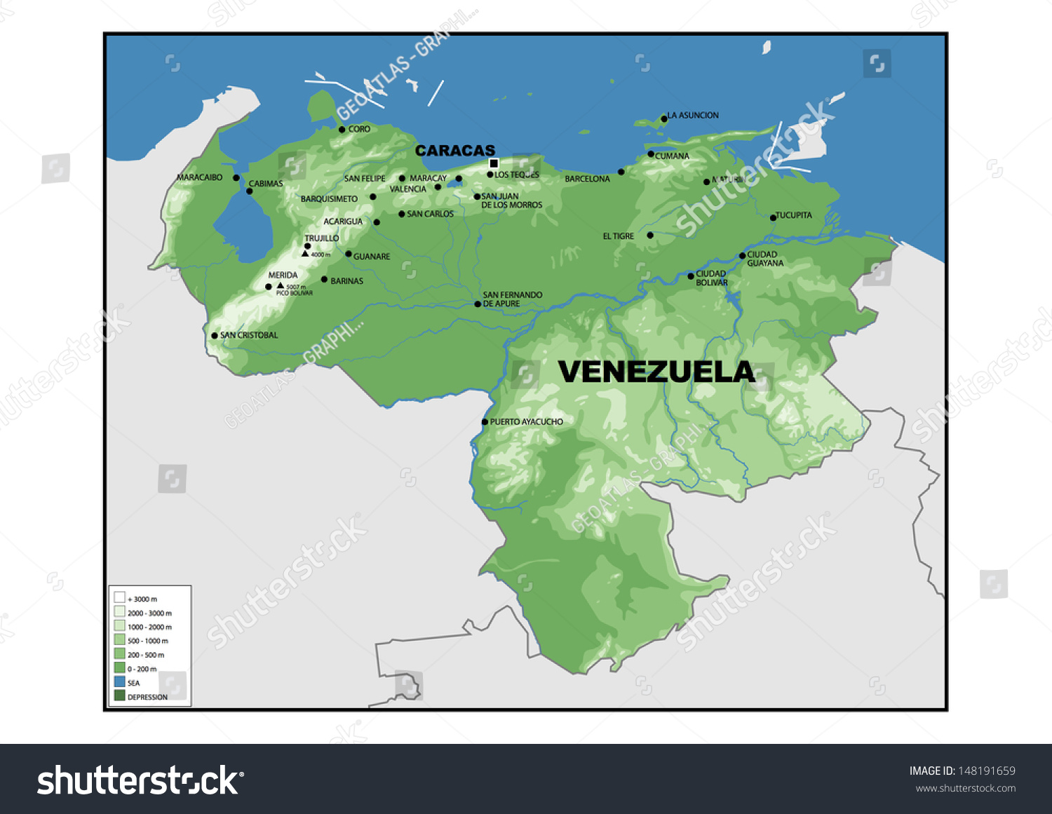 Physical Map Venezuela Stock Illustration Shutterstock - Physical of map venezuela