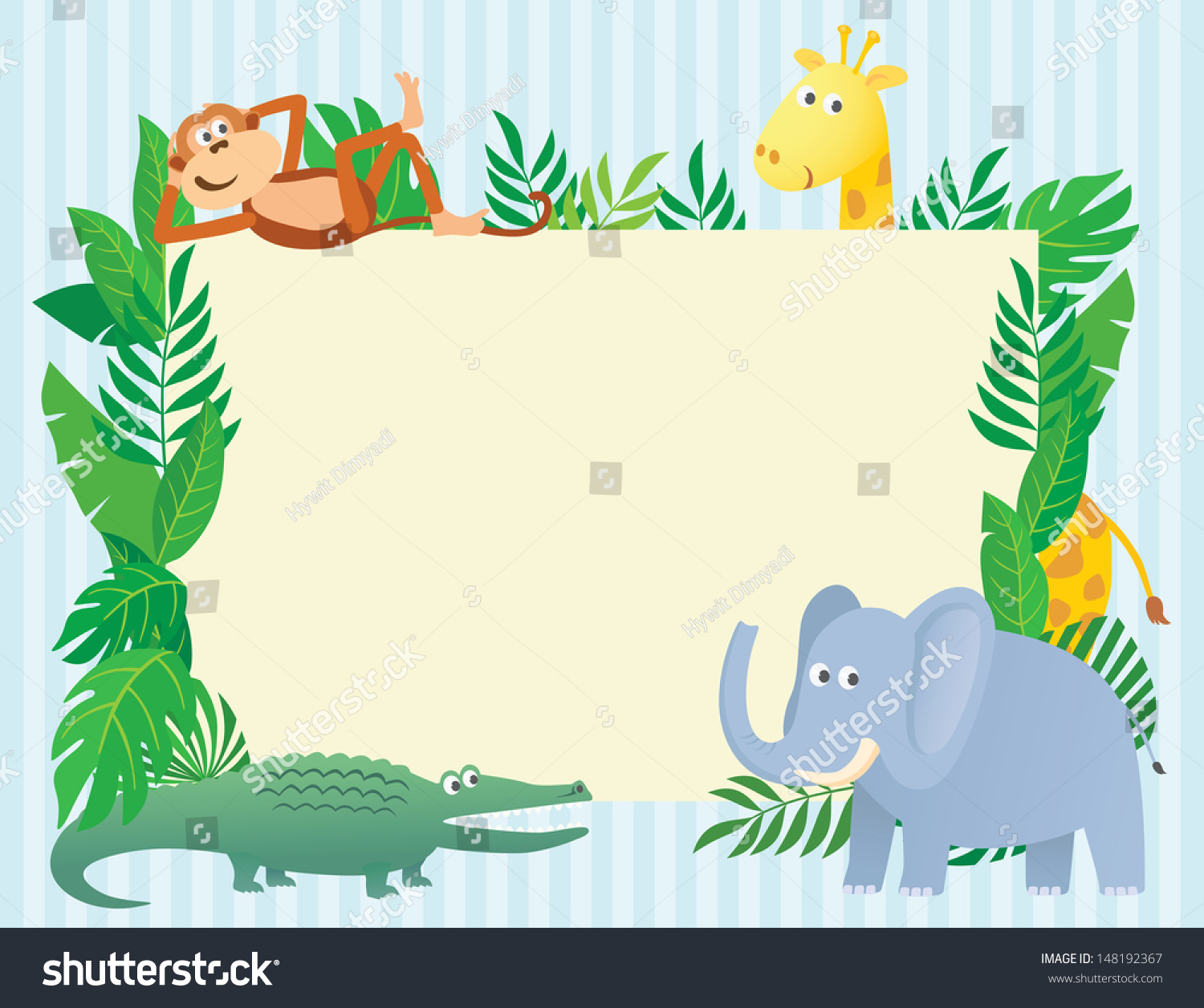 Animal Themed Illustration With Blank Sign Board ...
