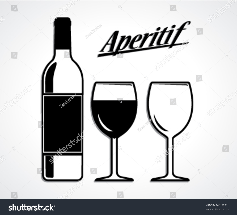 Wine Bottle Cup Setaperitif Black White Stock Vector ...
