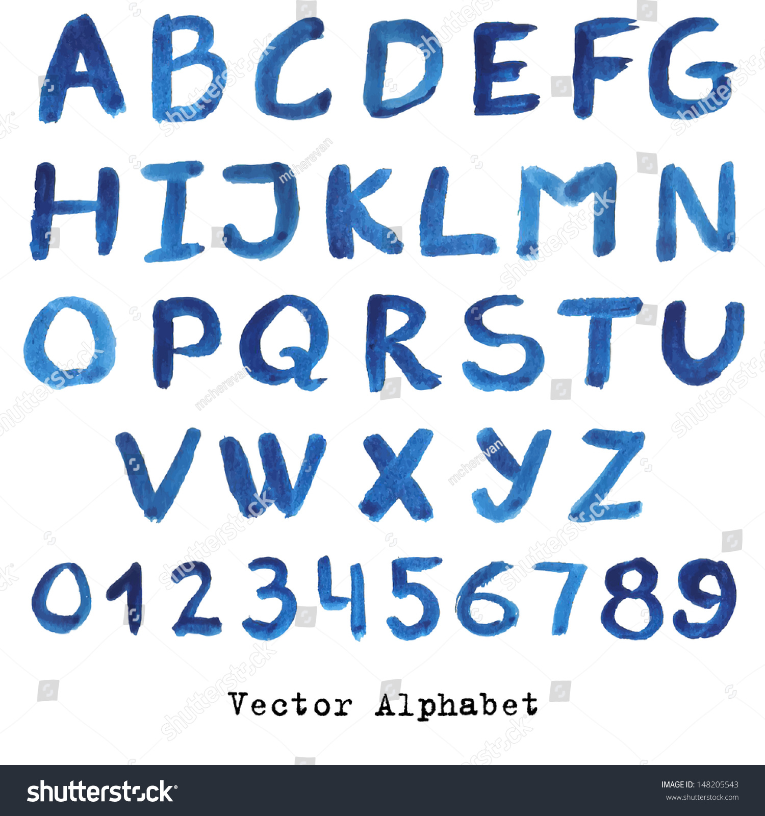 alphabet blue colors watercolor paint vectornumbers stock vector