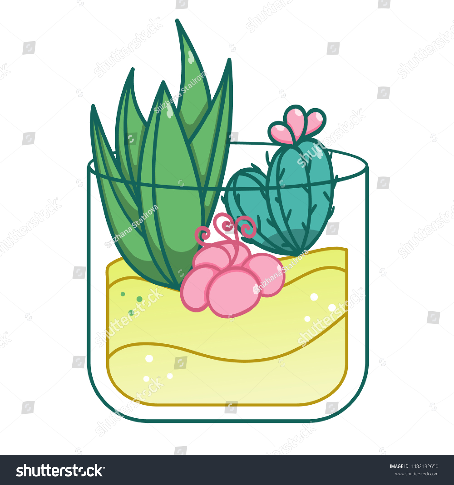 Cacti Glass Jar Terrarium Growing Plans Stock Vector Royalty Free 1482132650
