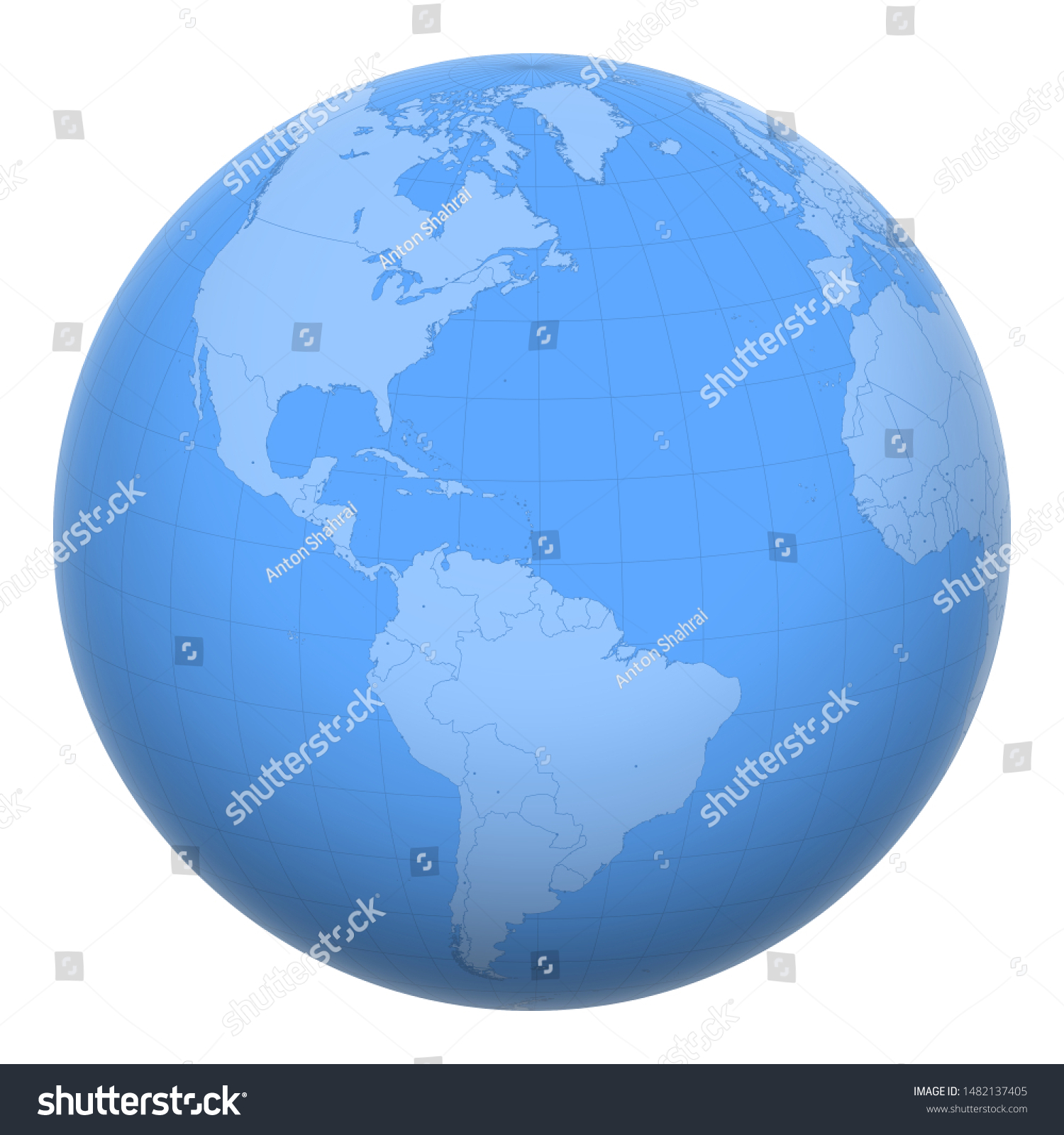 Image of: Saint Lucia On Globe Earth Centered Stock Vector Royalty Free 1482137405