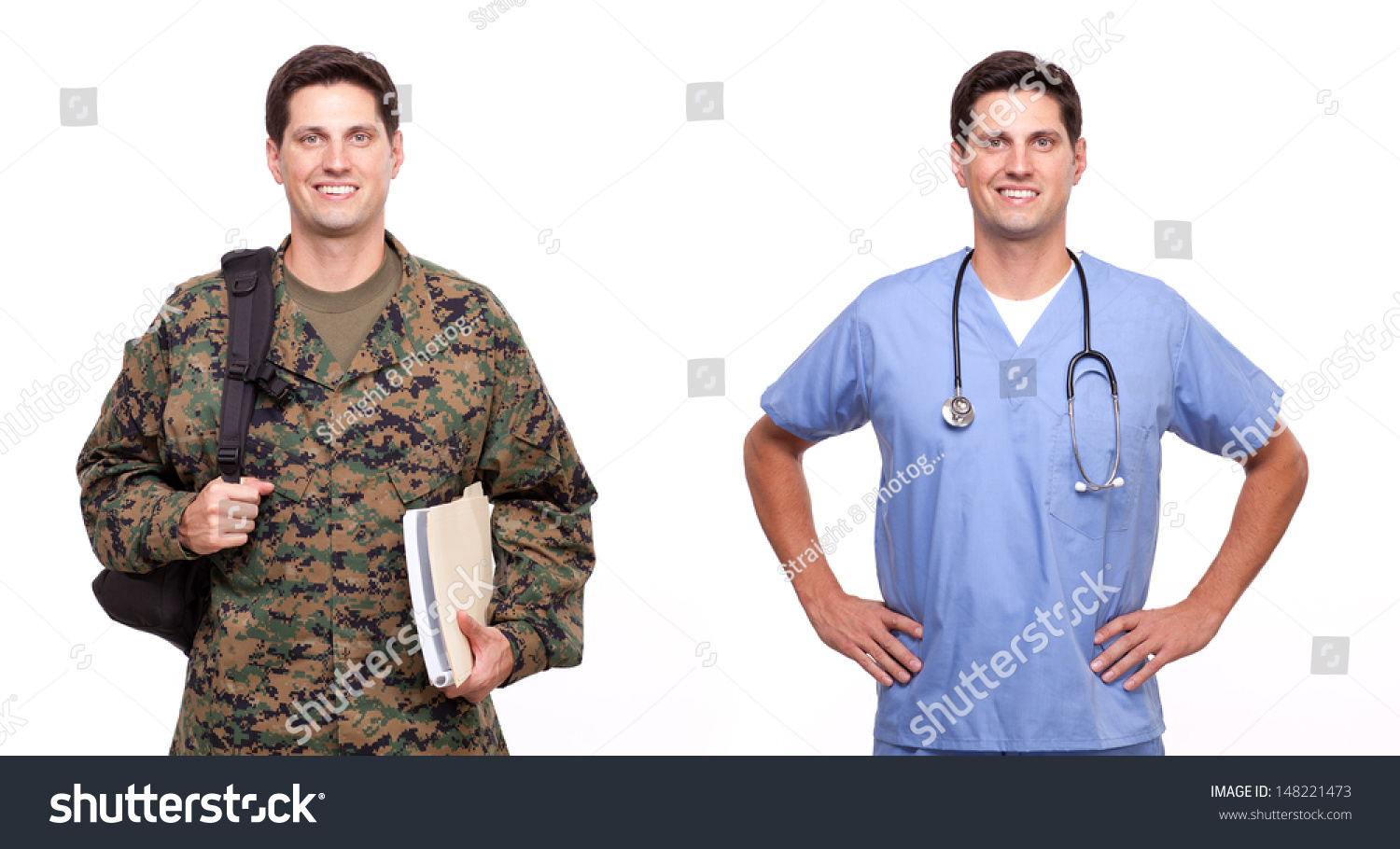 royalty veteran ier military transition  veteran ier military transition to civilian workplace money for college and education benefits male nurse and ier posing against white