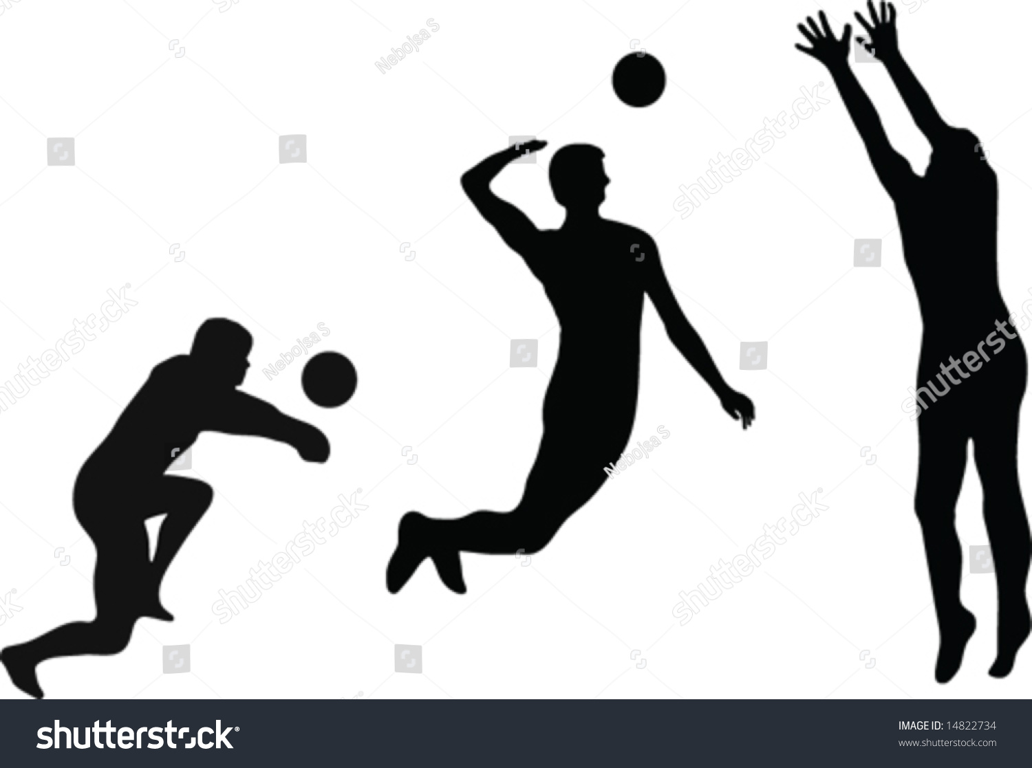 Illustration Abstract Volleyball Player Silhouette: Volleyball Player Silhouettes