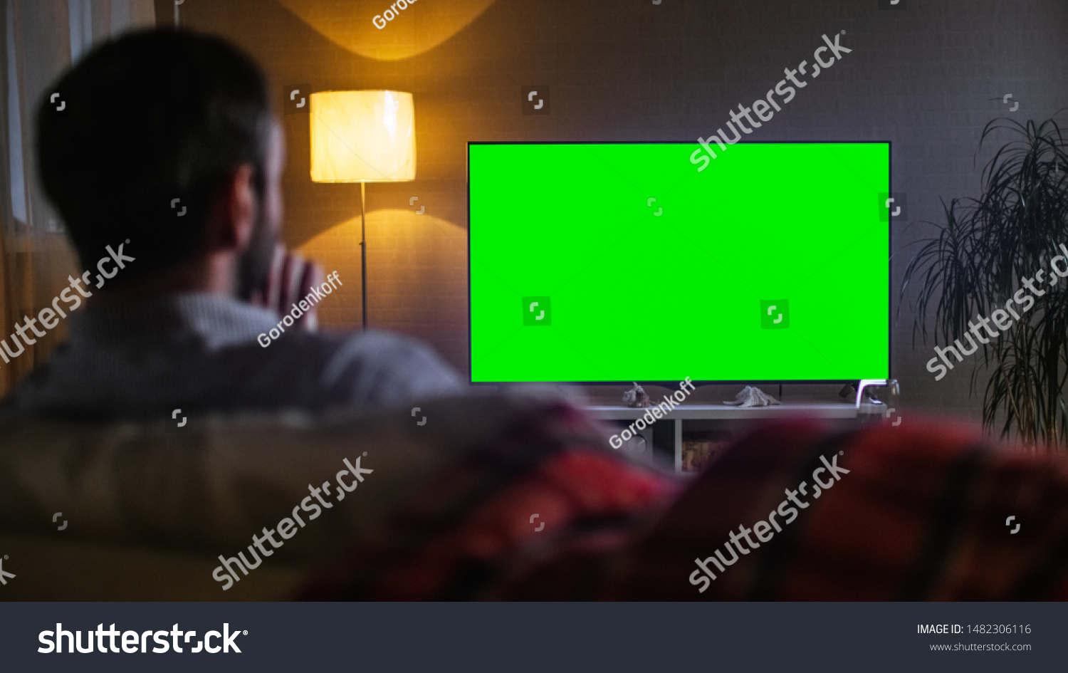 In the Evening Back View of a Middle Aged Man Sitting on a Couch Watching Big Flat Screen TV. #1482306116