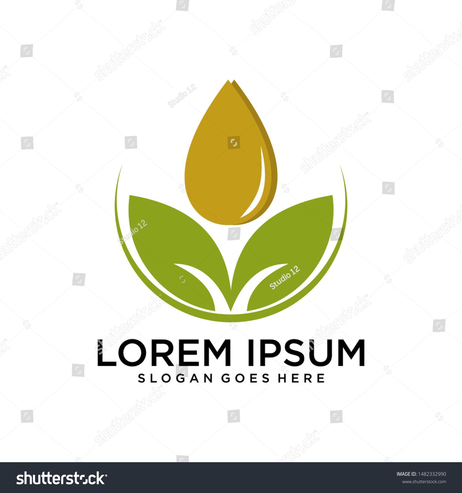 Leaf Essential Oil Logo Aromatherapy Logoikon Stock Vector Royalty Free 1482332990