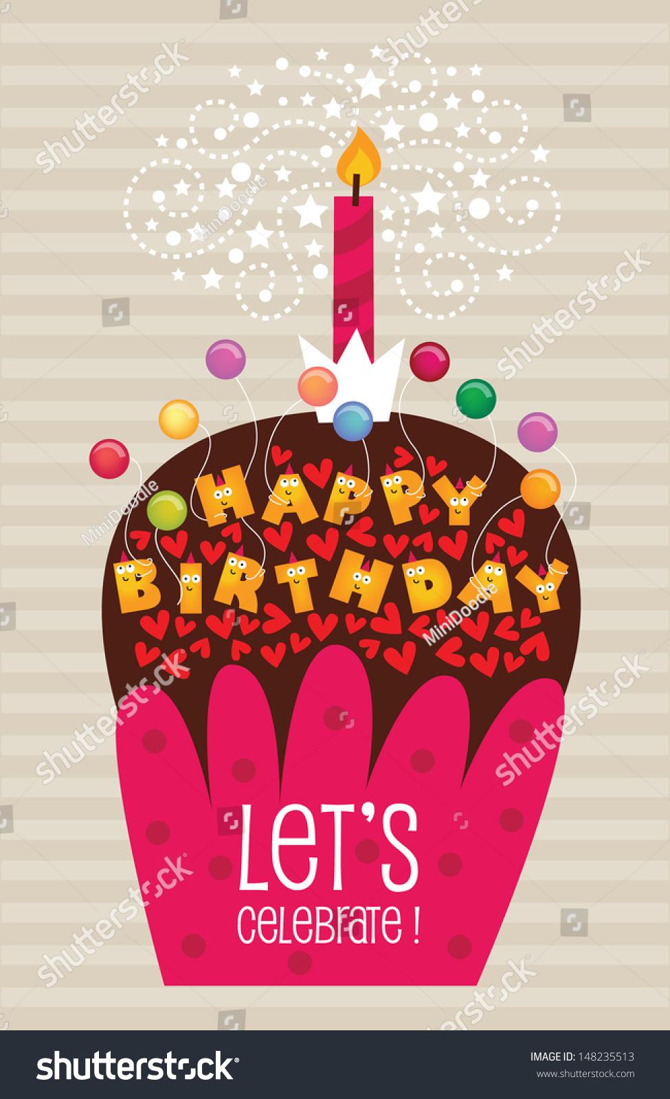 vintage birthday card vector eps yummy stock vector, Birthday card
