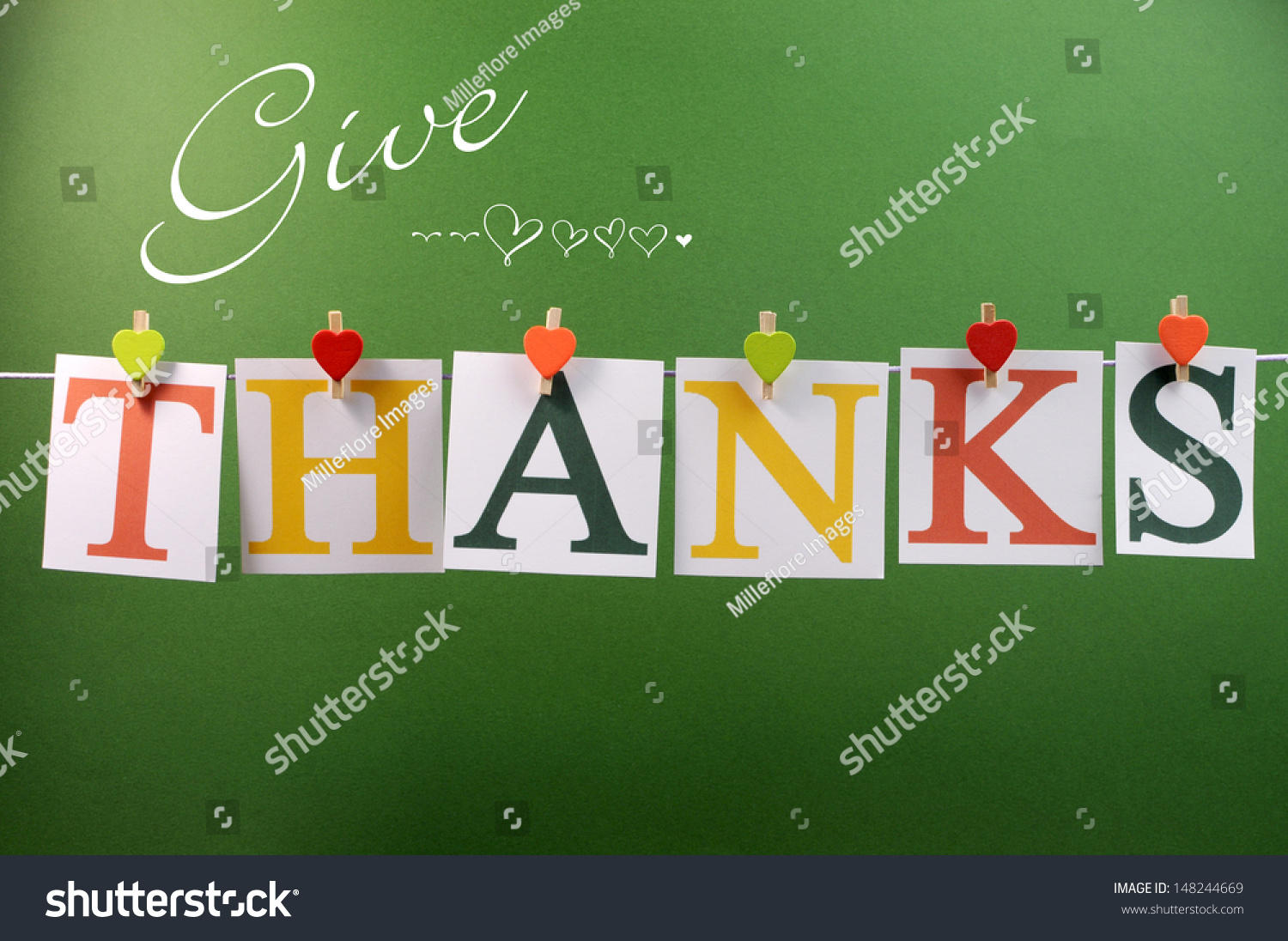 Give Thanks Message Spelling Letters Hanging Stock Photo Edit Now