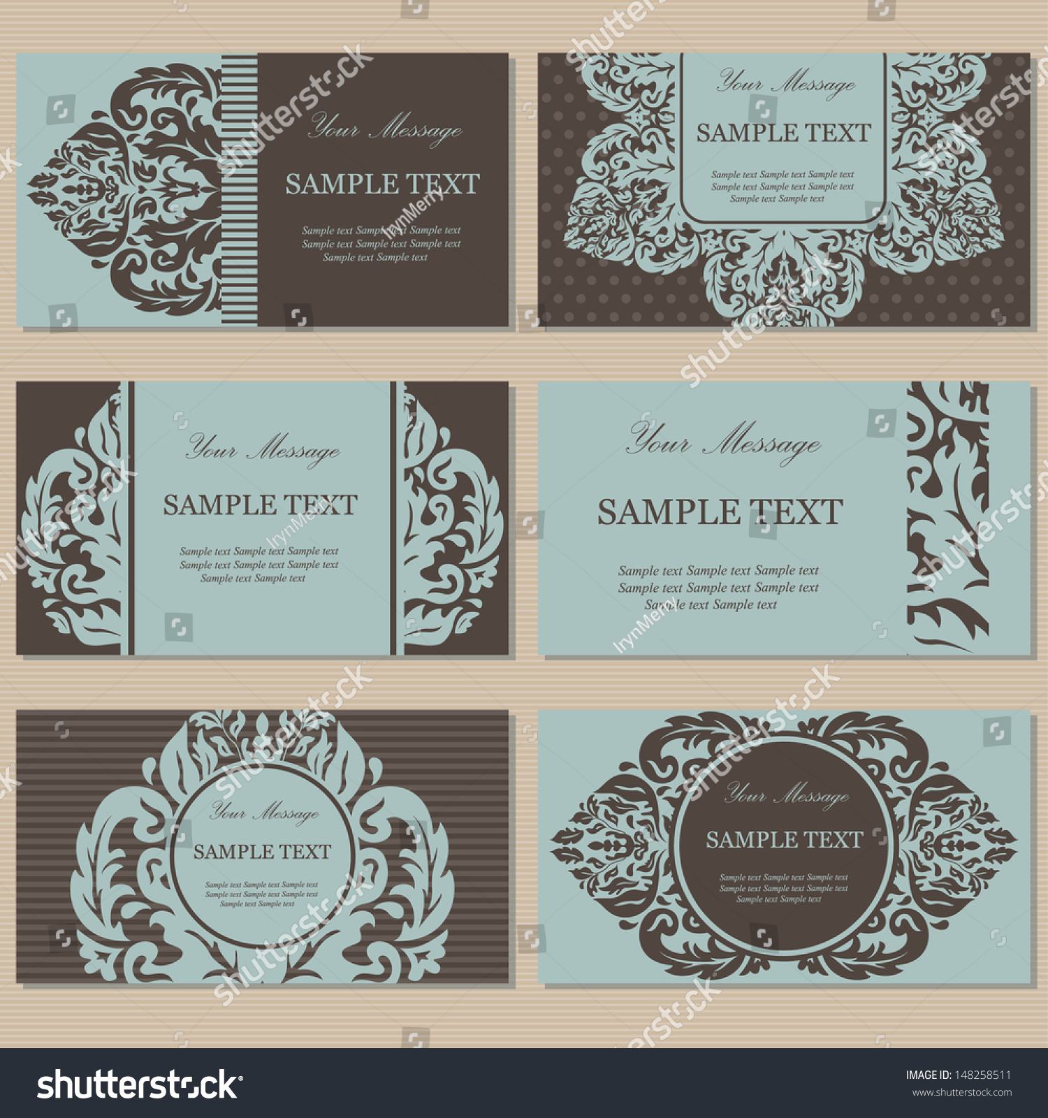 Set Six Floral Vintage Business Cards Stock Vector 148258511 ...