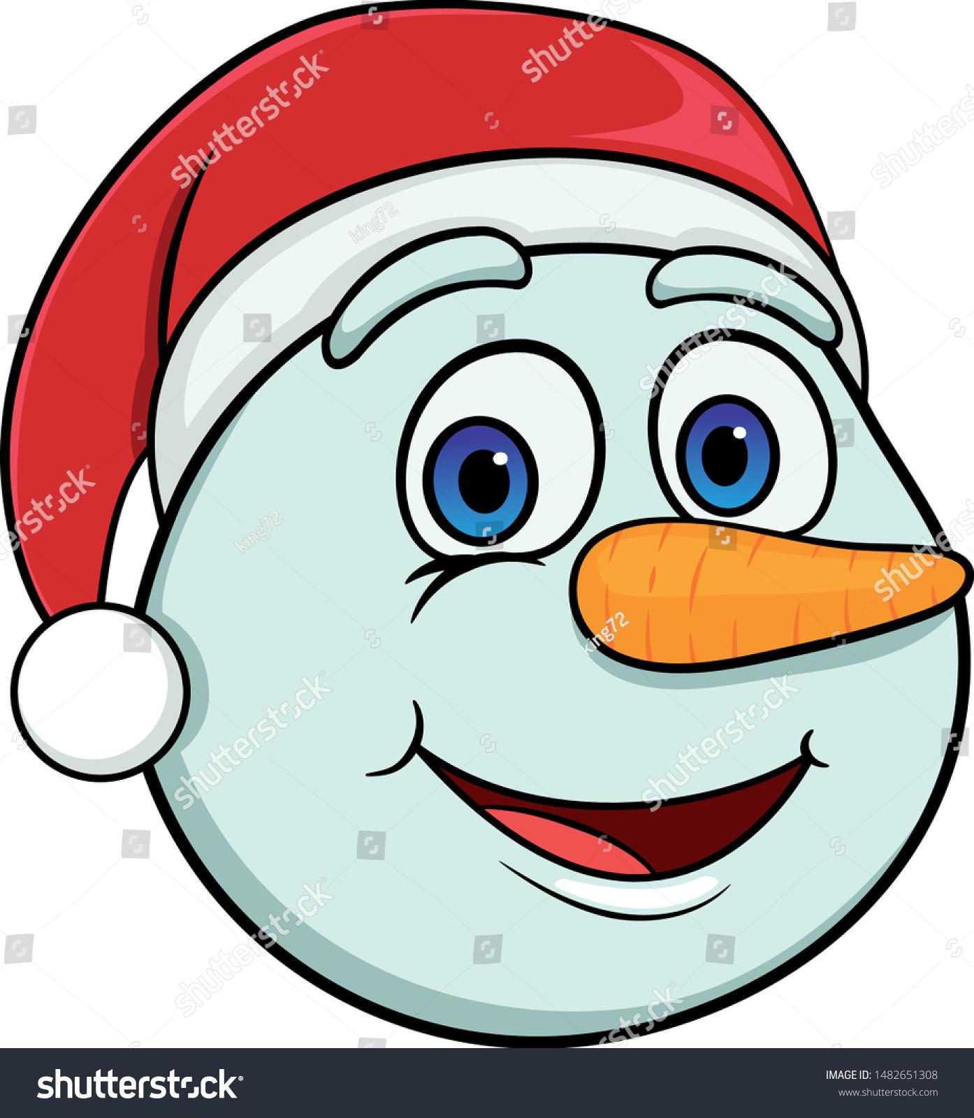 Head Cartoon Smiling Snowman Christmas Hat Stock Vector Royalty Free 1482651308