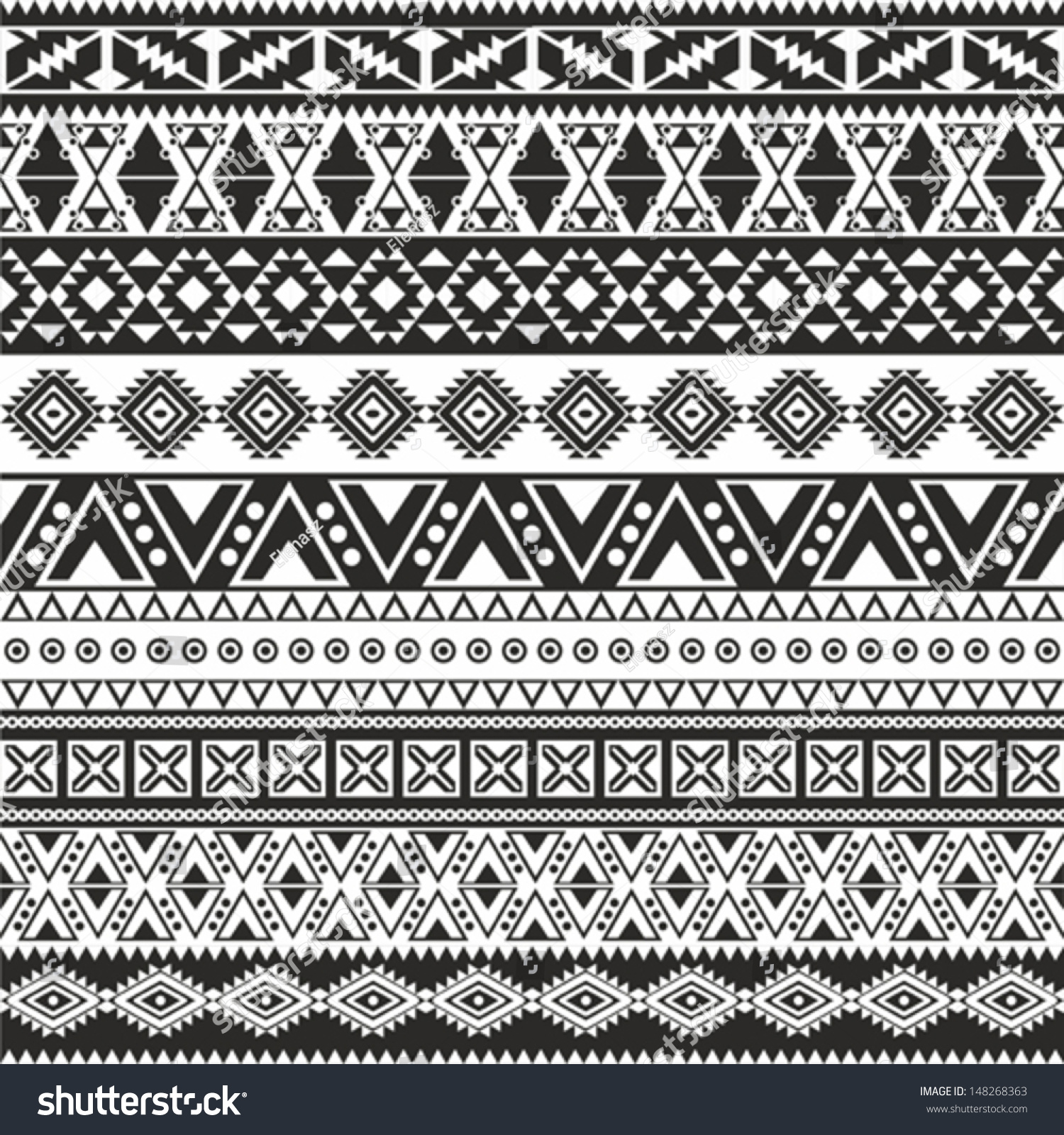 Background geometric mexican patterns seamless vector zigzag maya - Tribal Seamless Pattern Aztec Black And White Background
