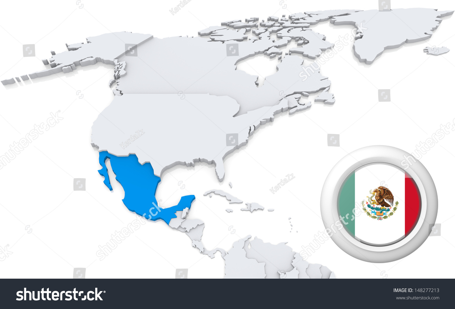 Highlighted Mexico On Map North America Stock Illustration 148277213