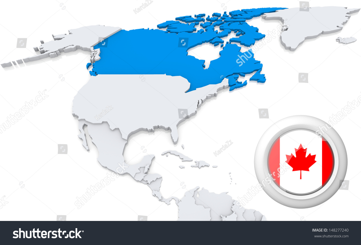 Highlighted Canada On Map North America Illustration – America and Canada Map