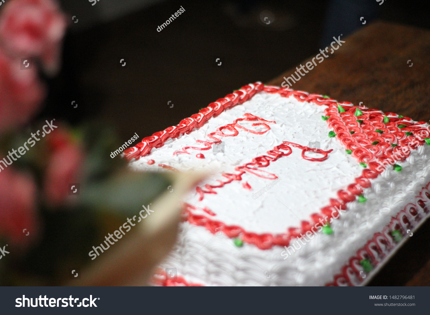 Brilliant Decorated Red White Birthday Cake On Stock Photo Edit Now 1482796481 Funny Birthday Cards Online Alyptdamsfinfo