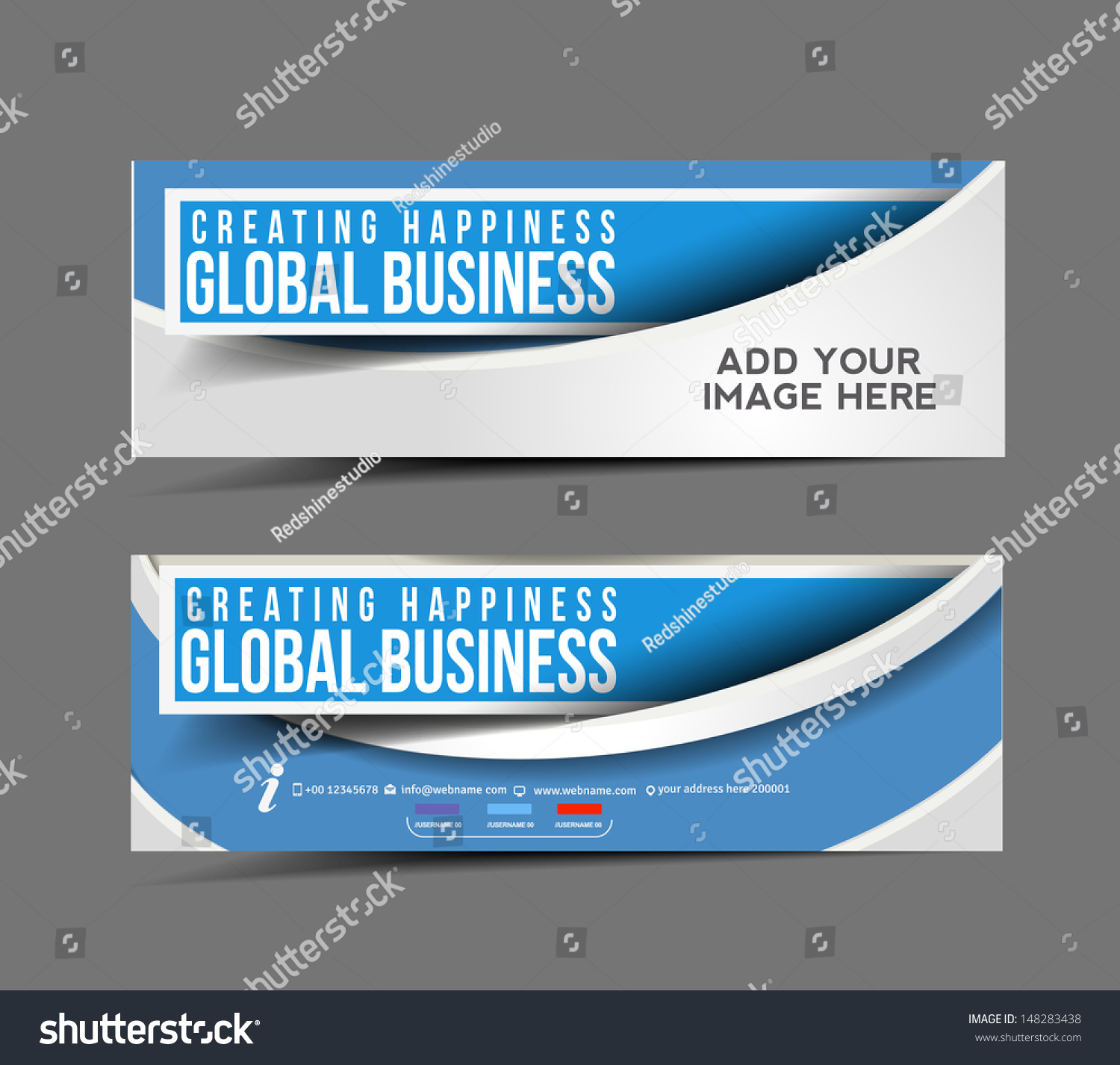 Set modern global business design banner stock vector for Global design company