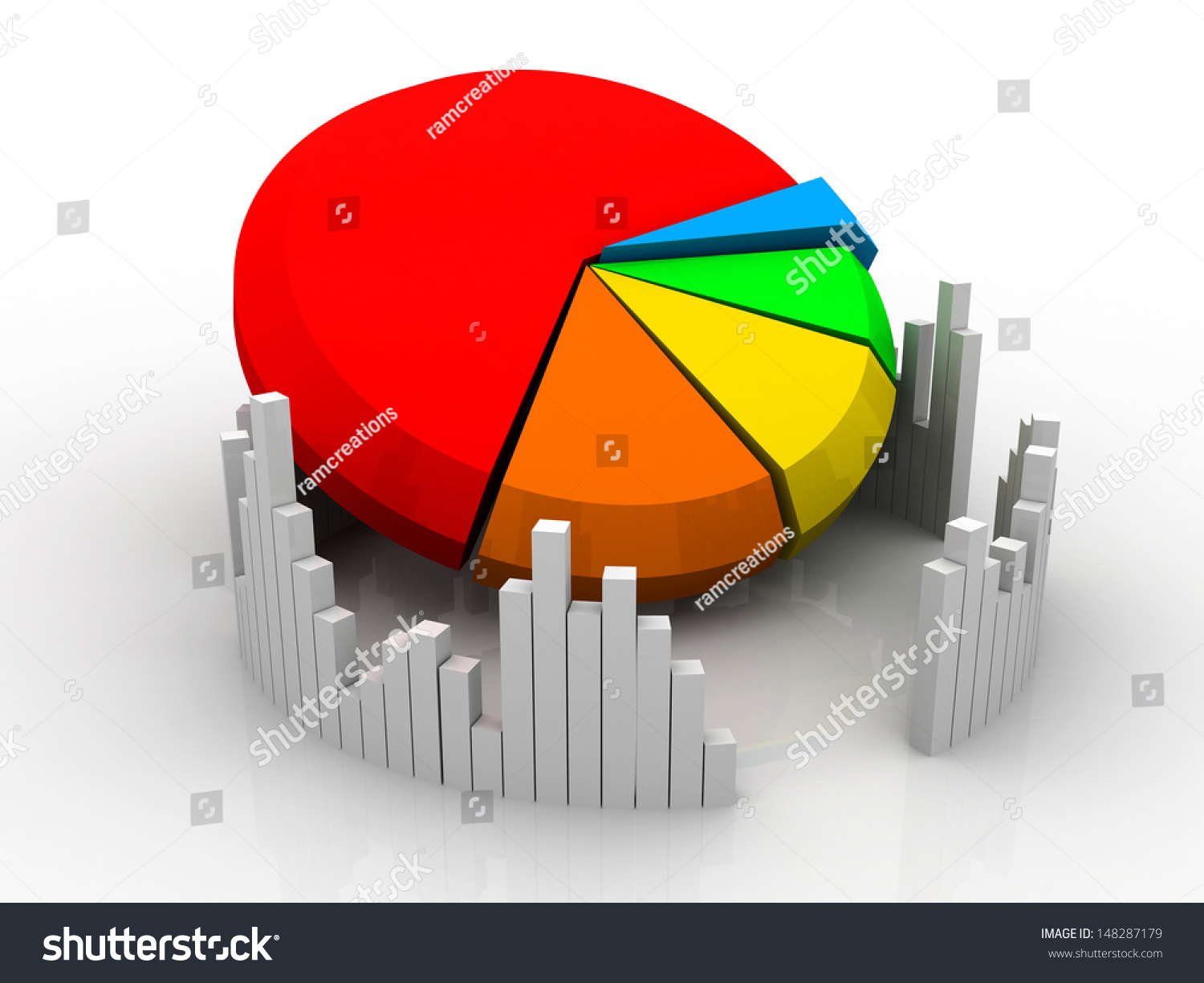 3 D Business Growth Graph Pie Chart Stock Illustration 148287179