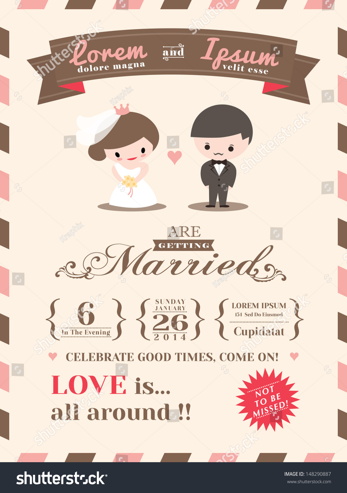 Wedding Invitation Card Template Cute Groom Stock Vector (Royalty