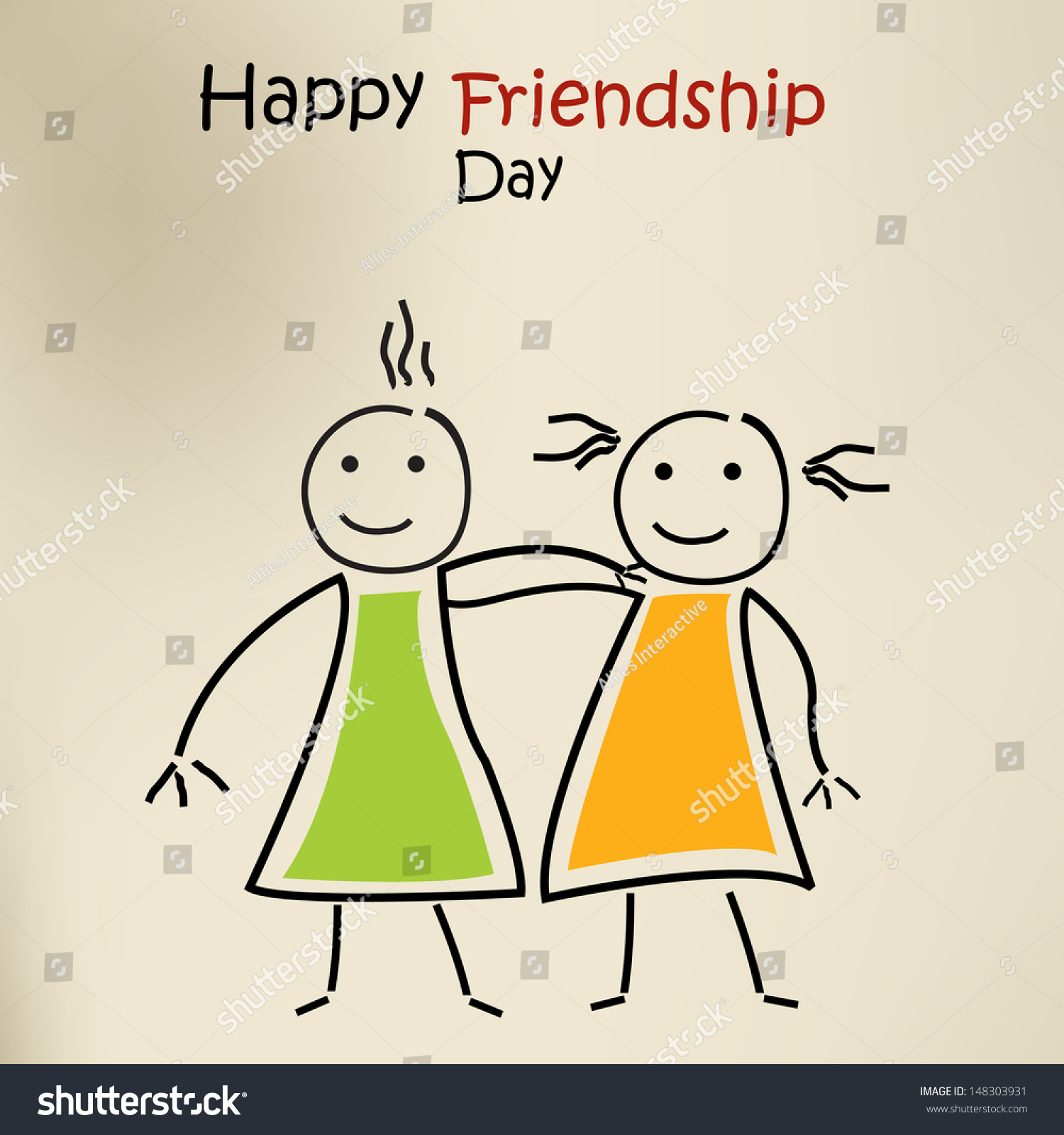 Happy Friendship Day Greeting Card Background Stock Vector Royalty