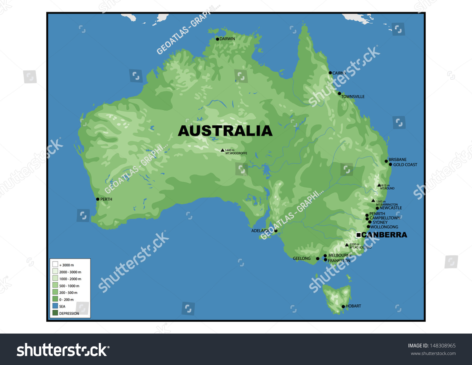 Australia Physical Map Mid Atlantic States Map - Australia physical map