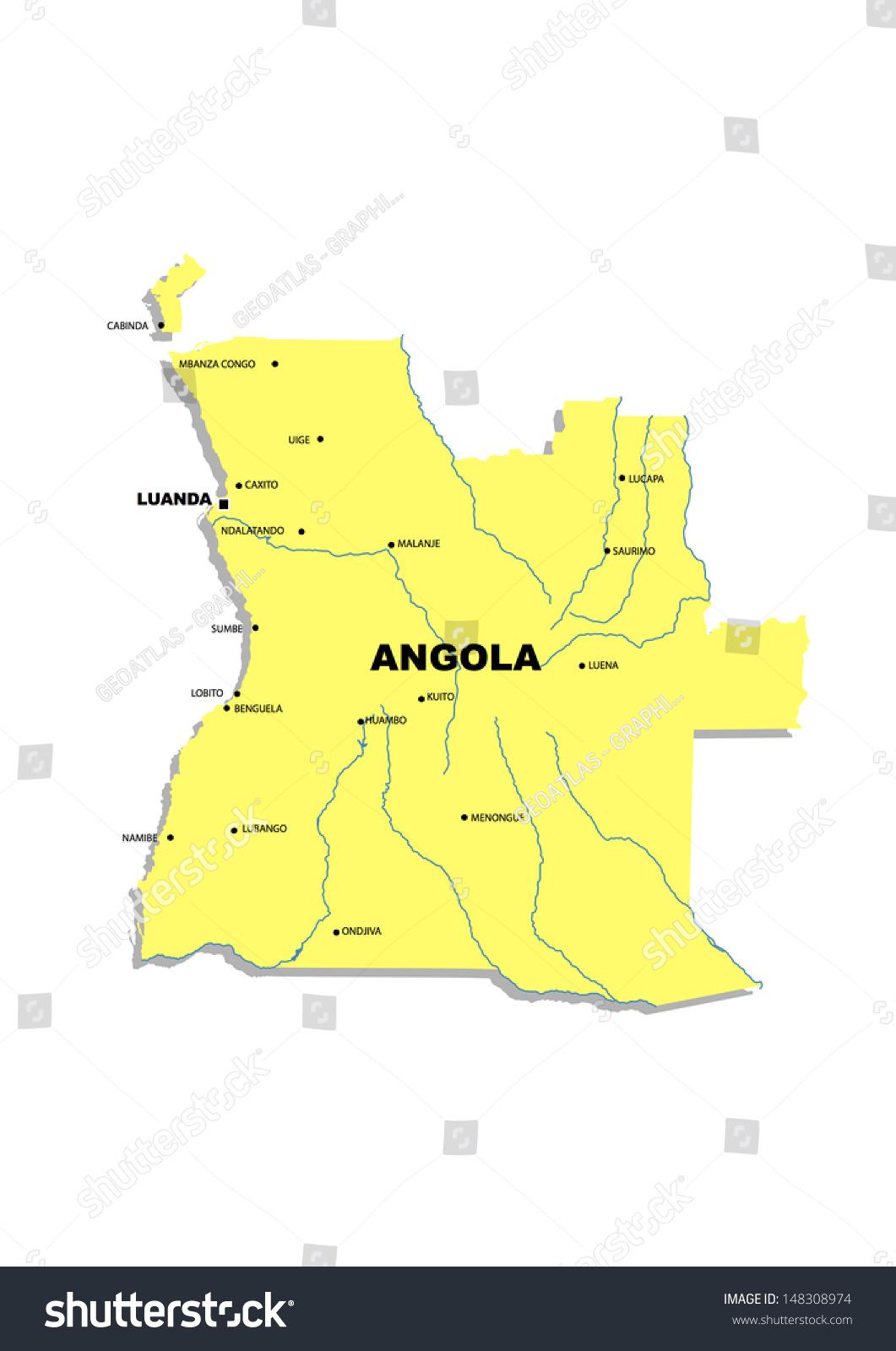 Administrative Map Angola Stock Illustration 148308974 Shutterstock