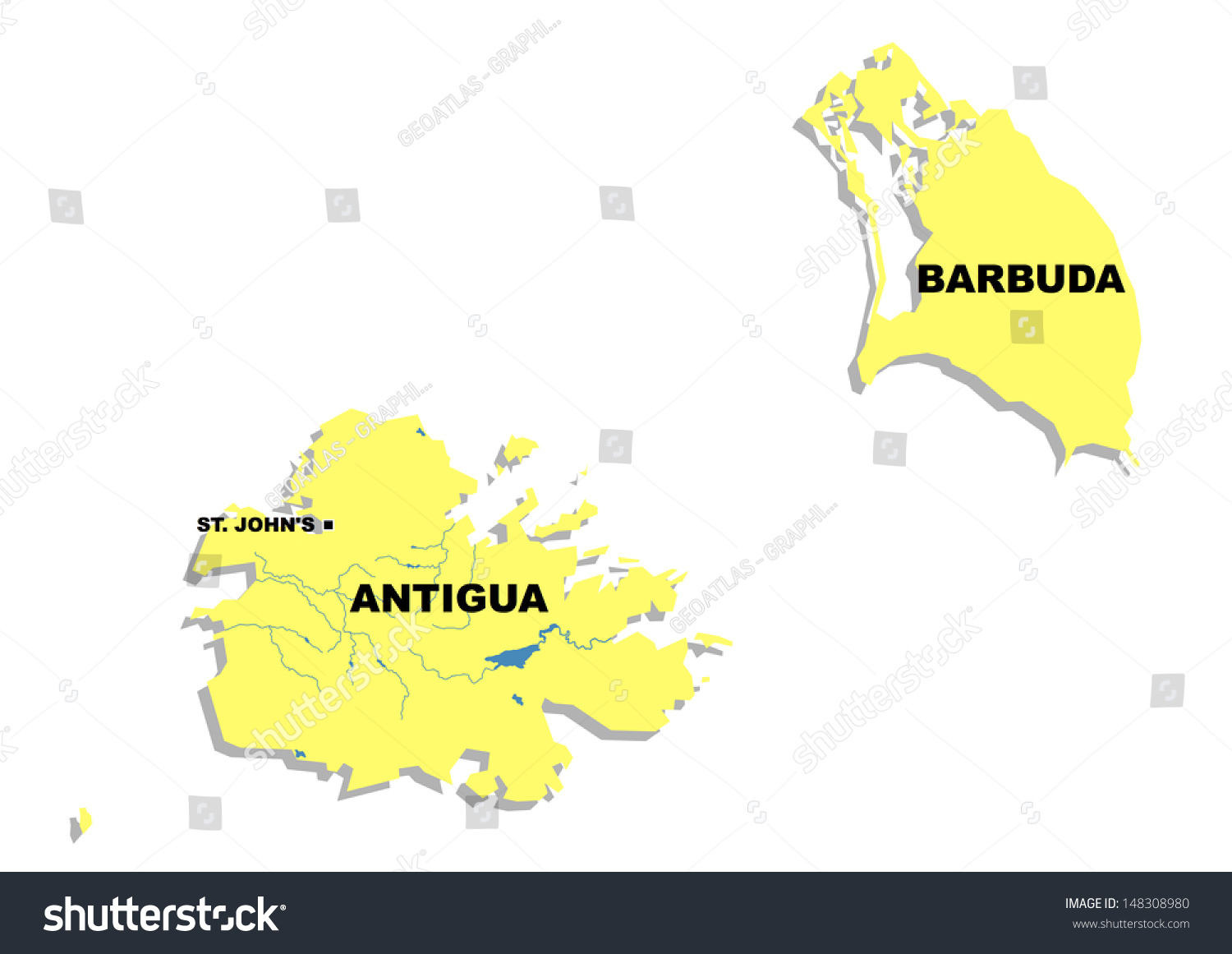 Administrative map of antigua and barbuda