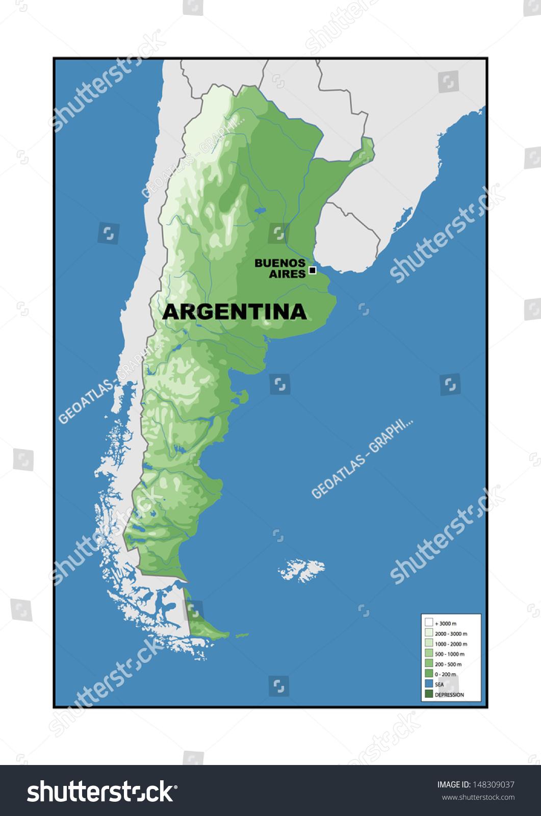 Physical Map Argentina Stock Illustration 148309037
