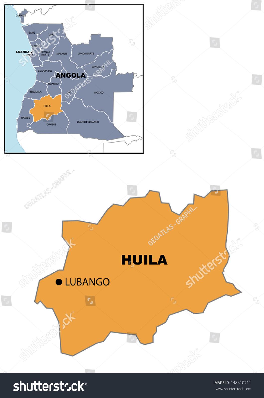 Administrative Map Angola Stock Illustration 148310711 Shutterstock