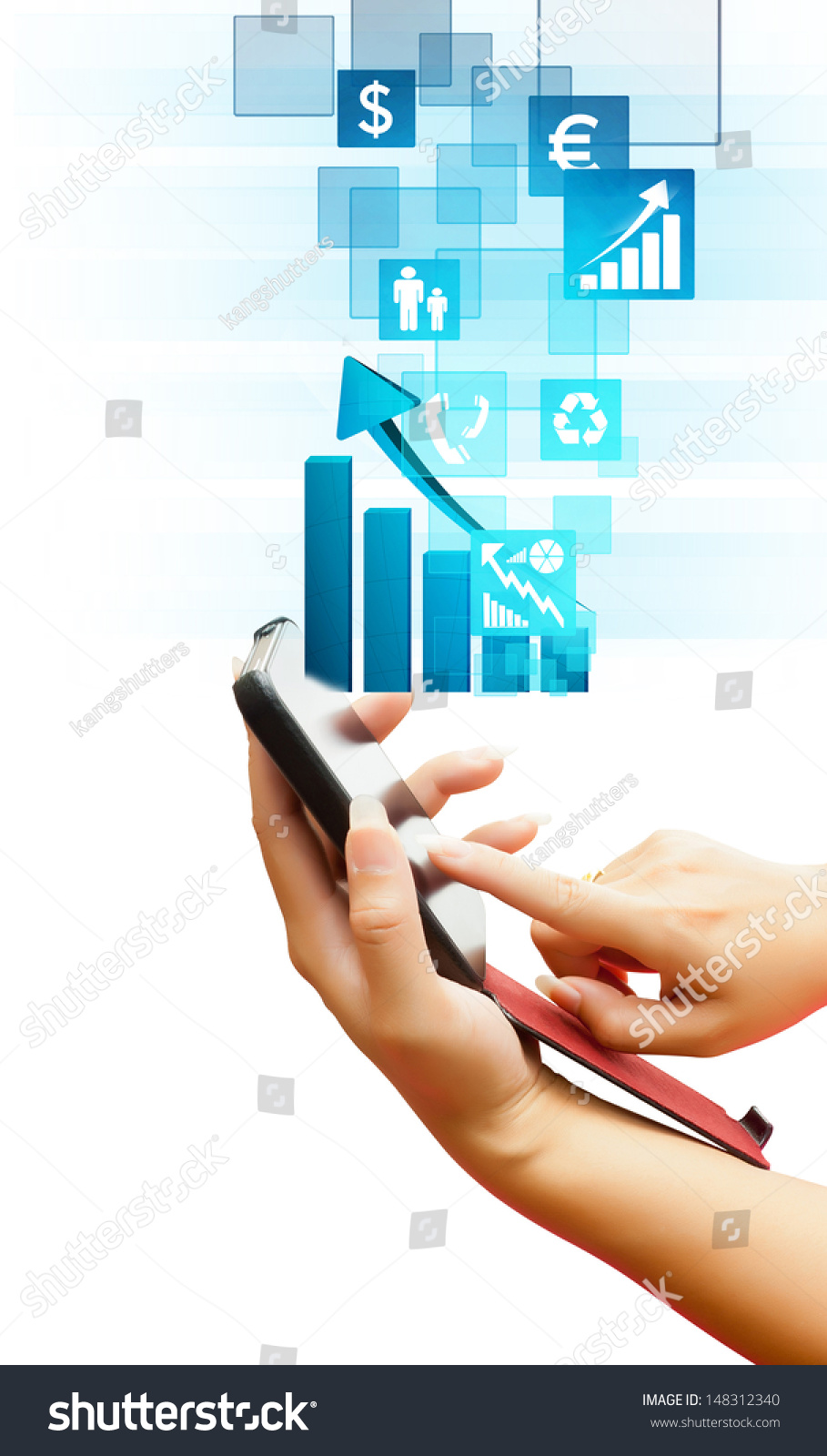 Hand Business Women Pushing On Touch Stock Photo Edit Now Human Skin As A Screen Interface Of Smart Phone Isolated White Background