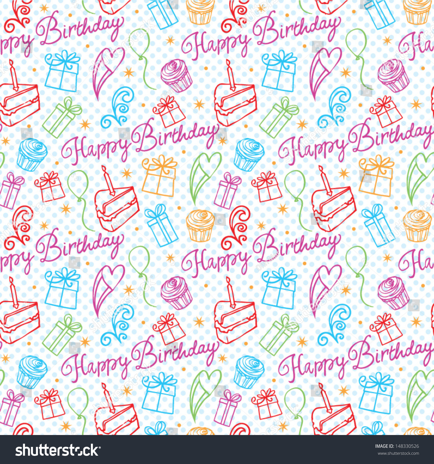Happy Birthday Icons Background Pattern Stock Vector 148330526 ...