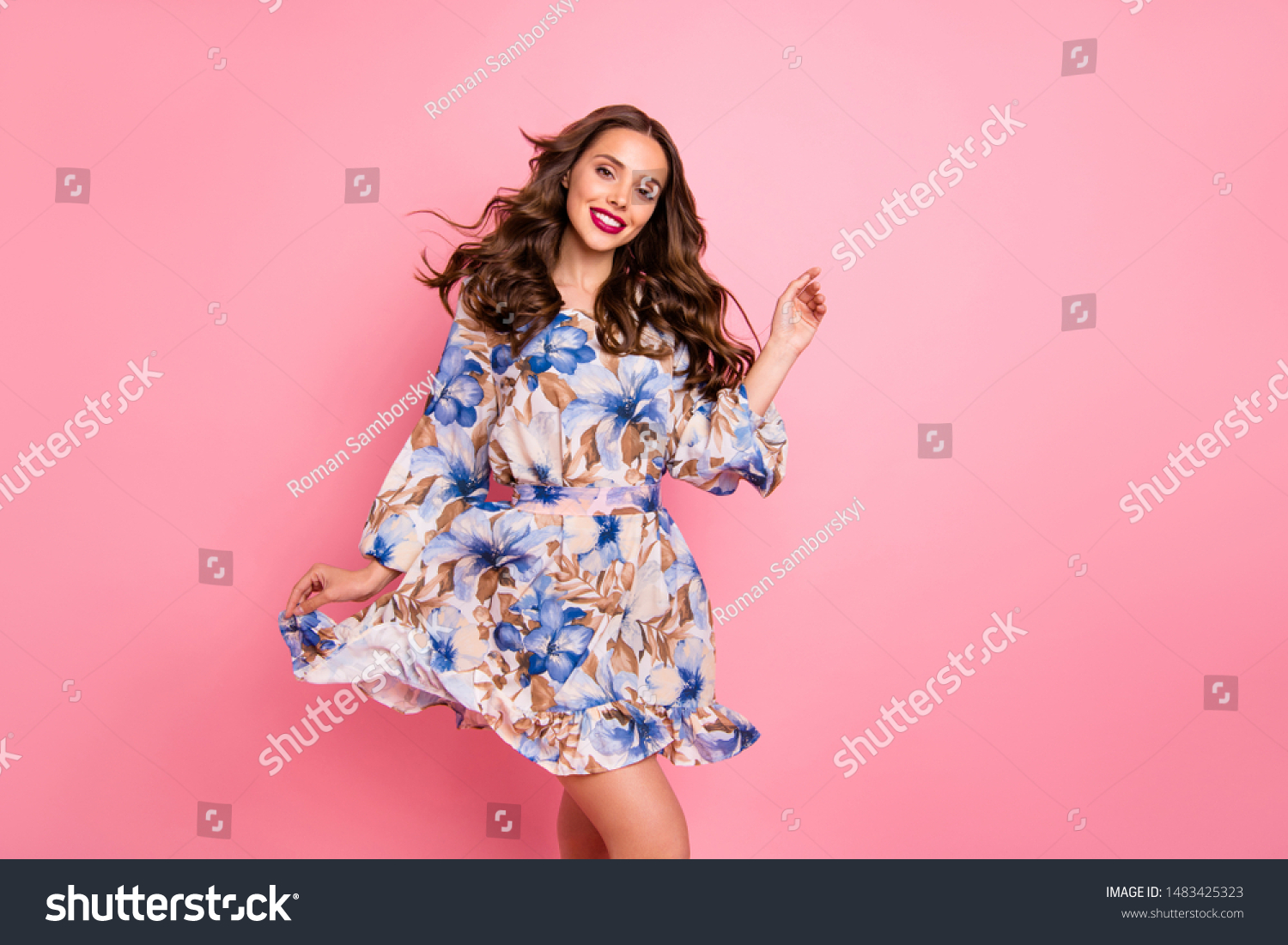 Nice lady overjoyed by warm spring breeze going romantic date wear cute dress isolated pink background #1483425323