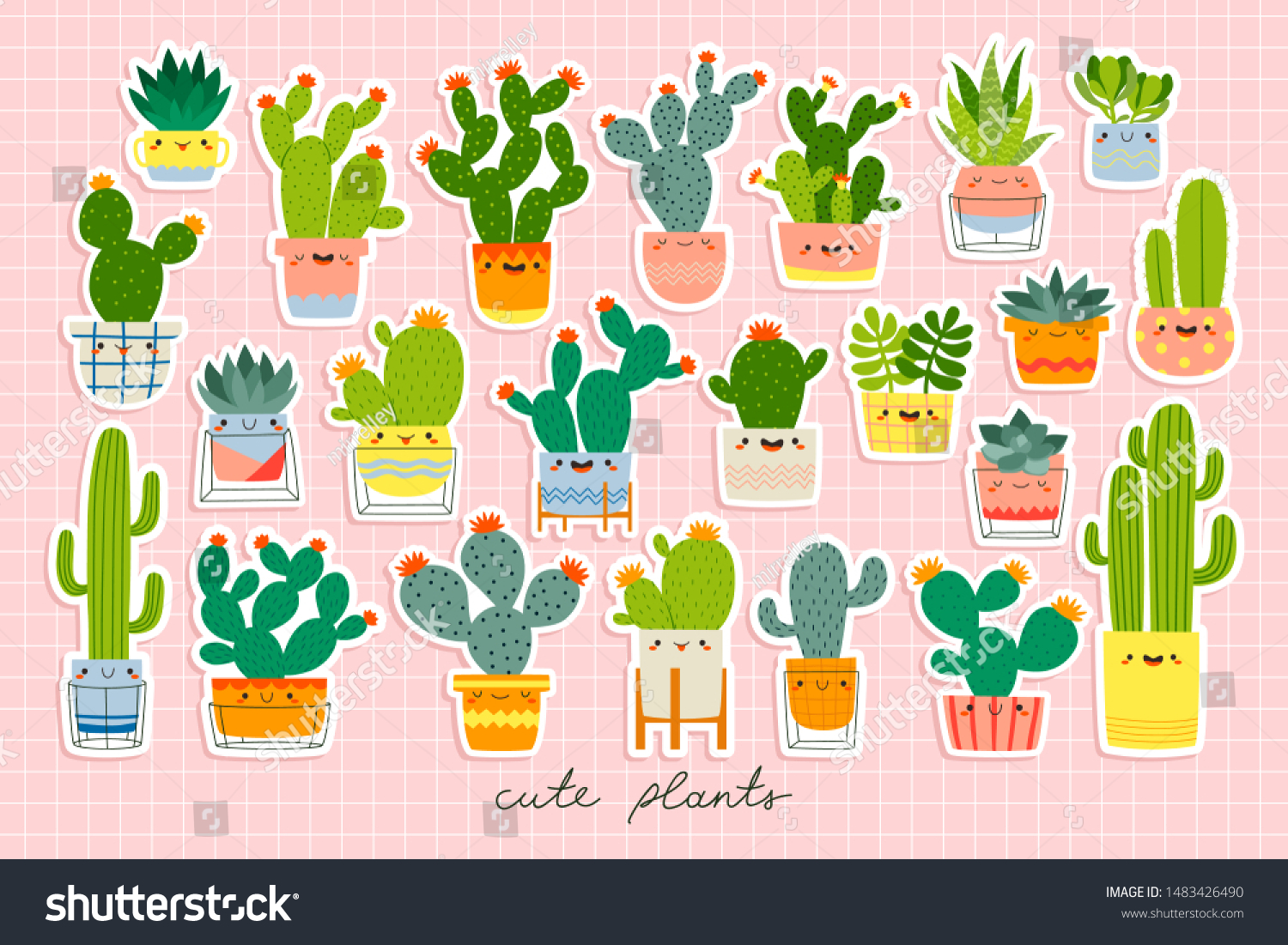 Big Set Different Cute Cacti Succulents Stock Vector Royalty Free 1483426490
